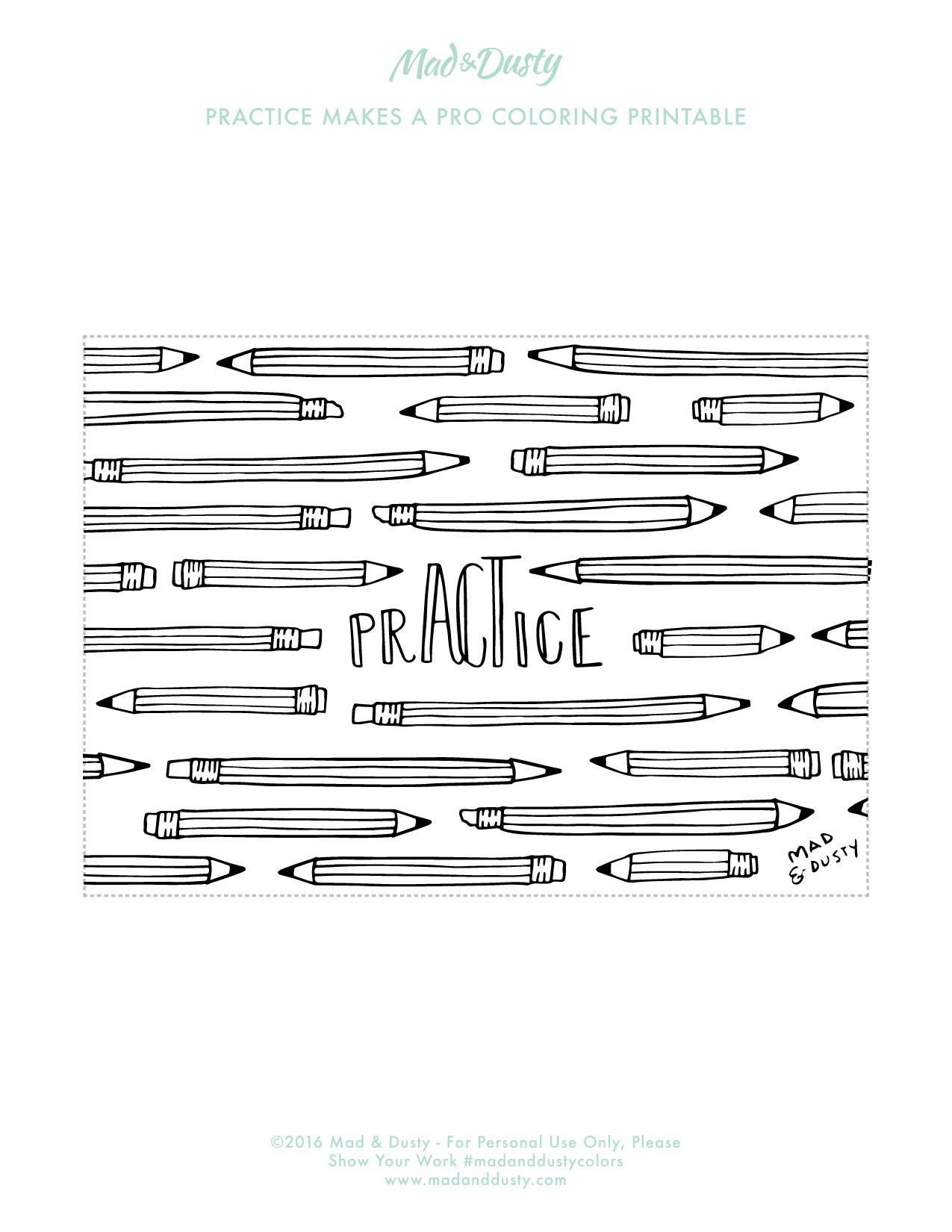 Practice Pencils Coloring Printable