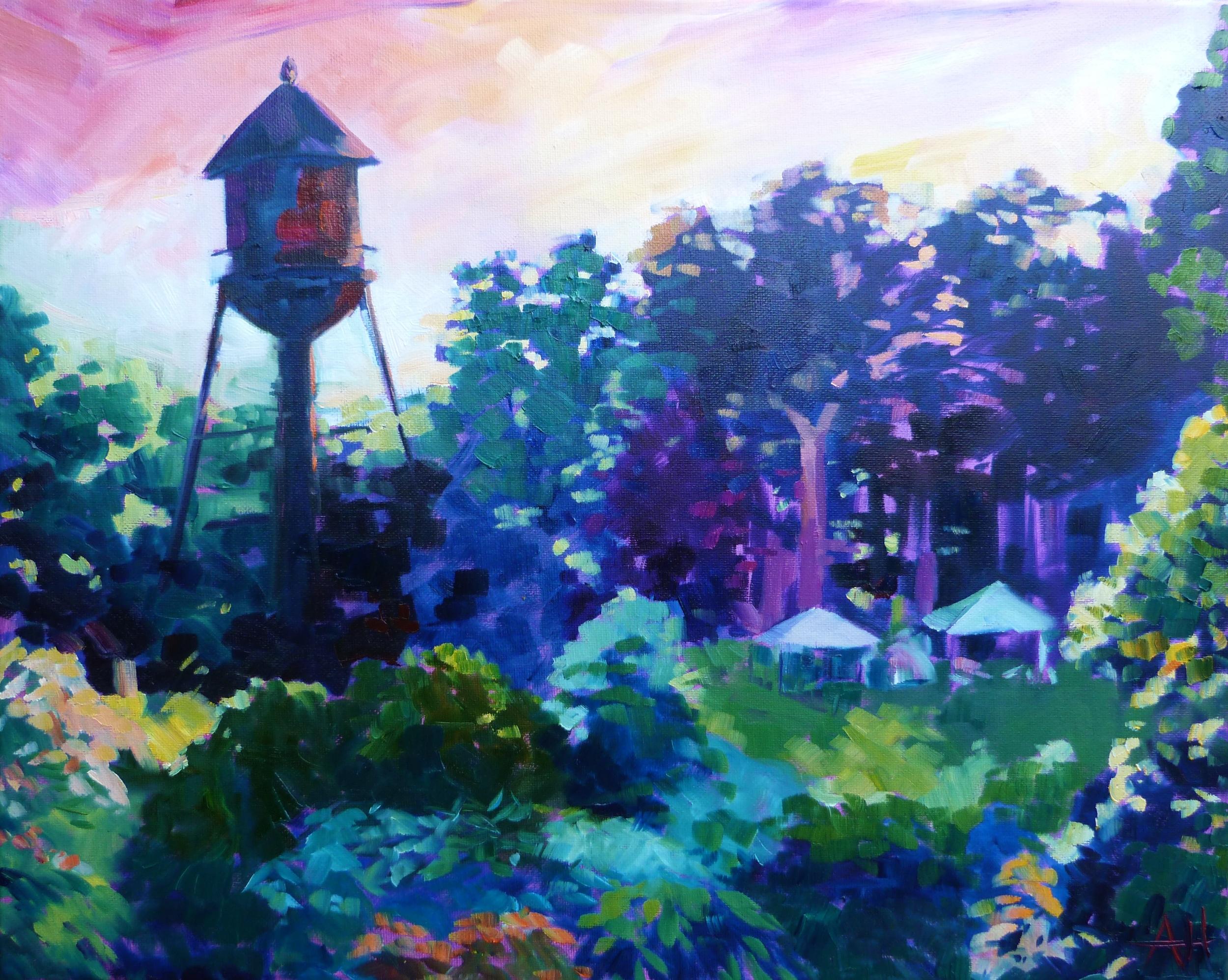 "SOLD, Clifftop Music Festival Water Tower, Copyright 2014 Hirschten, Oil on Canvas 16"" x 20"""