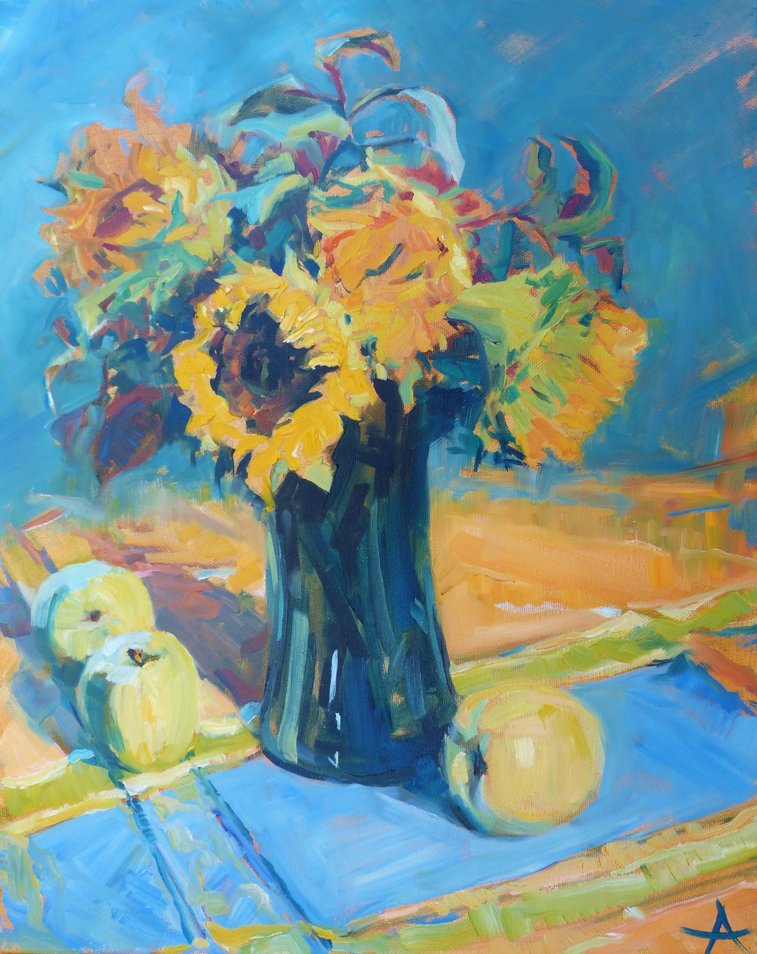 "SOLD, Sunflowers, Copyright 2014 Hirschten, Oil on Canvas, 16"" x 20"""