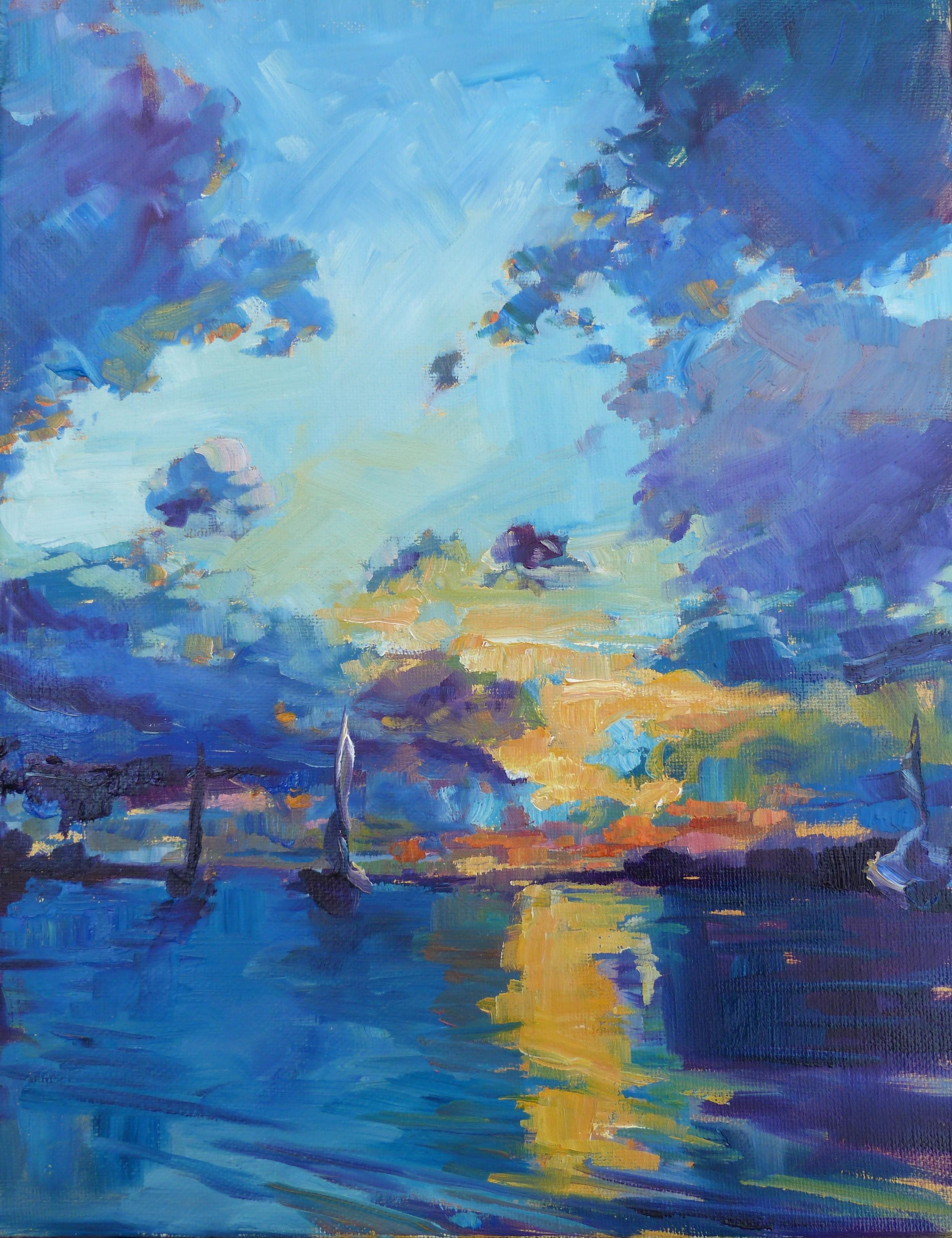 """SOLD, Sunset Over Beaufort, Copyright 2014 Hirschten, Oil on Canvas, 11"""" x 14"""""""