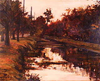 """SOLD, 6PM on the Canal, Copyright 2012 Hirschten, Oil on Canvas, 16"""" x 20"""""""
