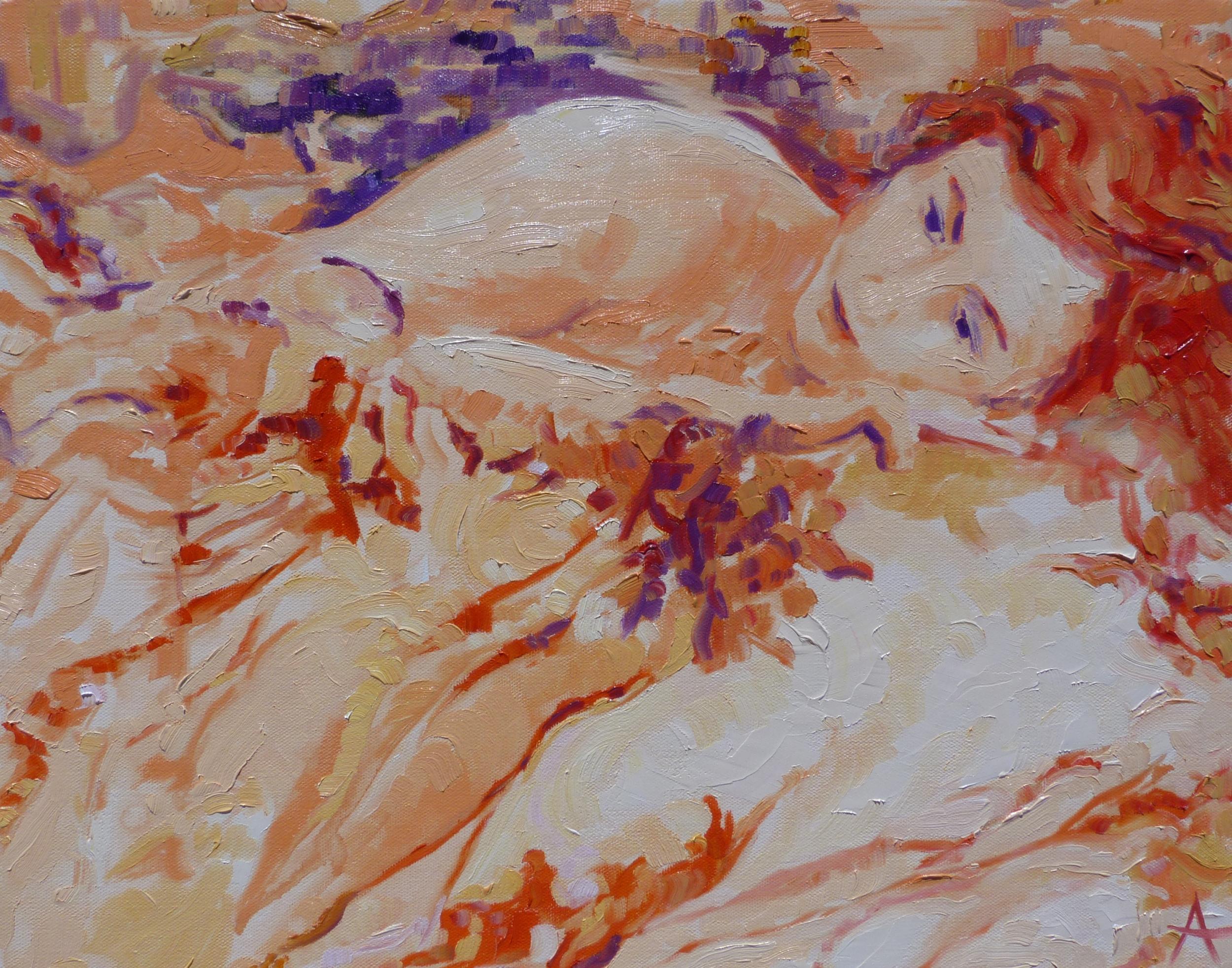 """SOLD, Thinking on It, Copyright 2012 Hirschten, Oil on Canvas, 16"""" x 20"""""""