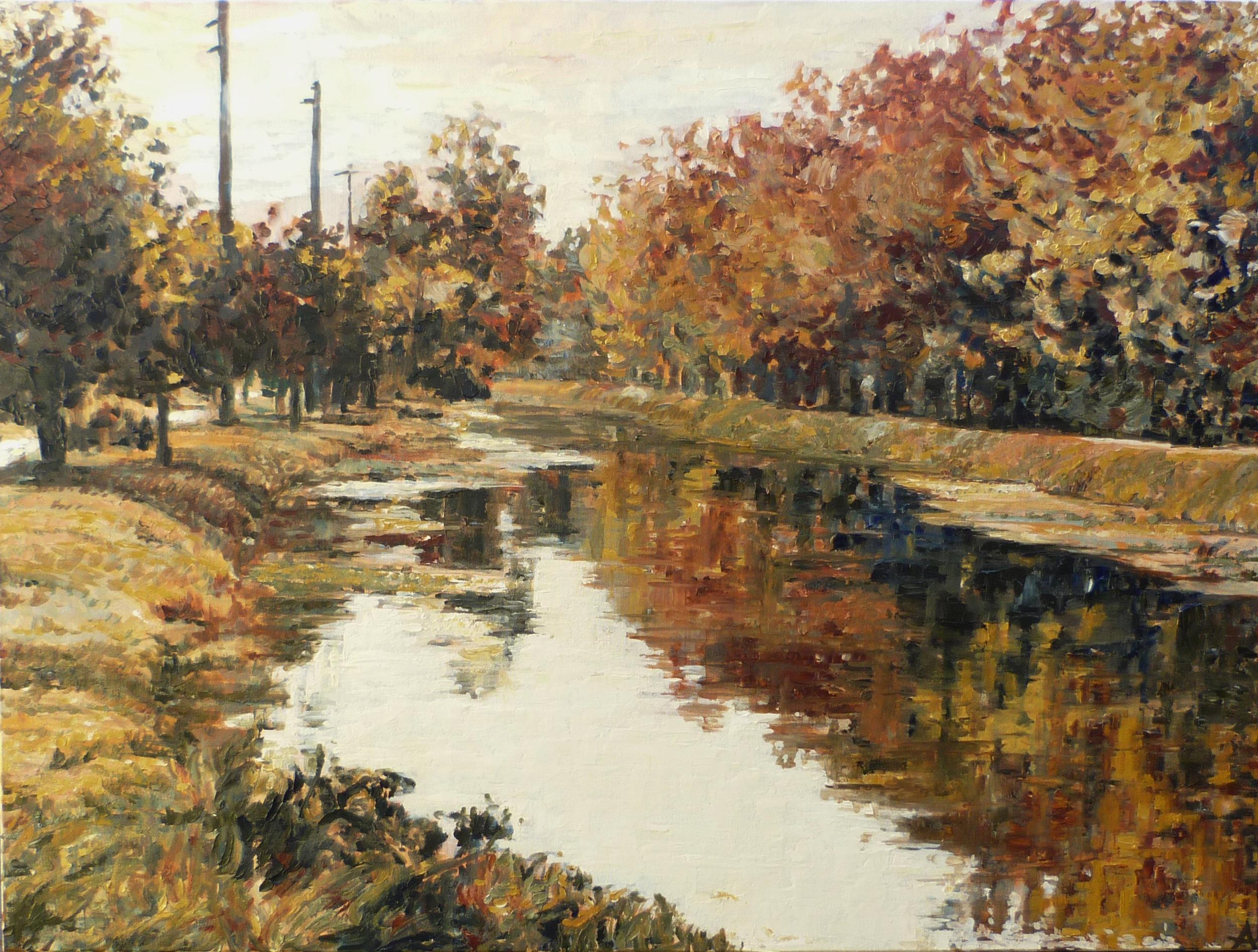 "SOLD, Autumn in Indianapolis, Copyright 2013 Hirschten, Oil on Canvas, 30"" x 40"""