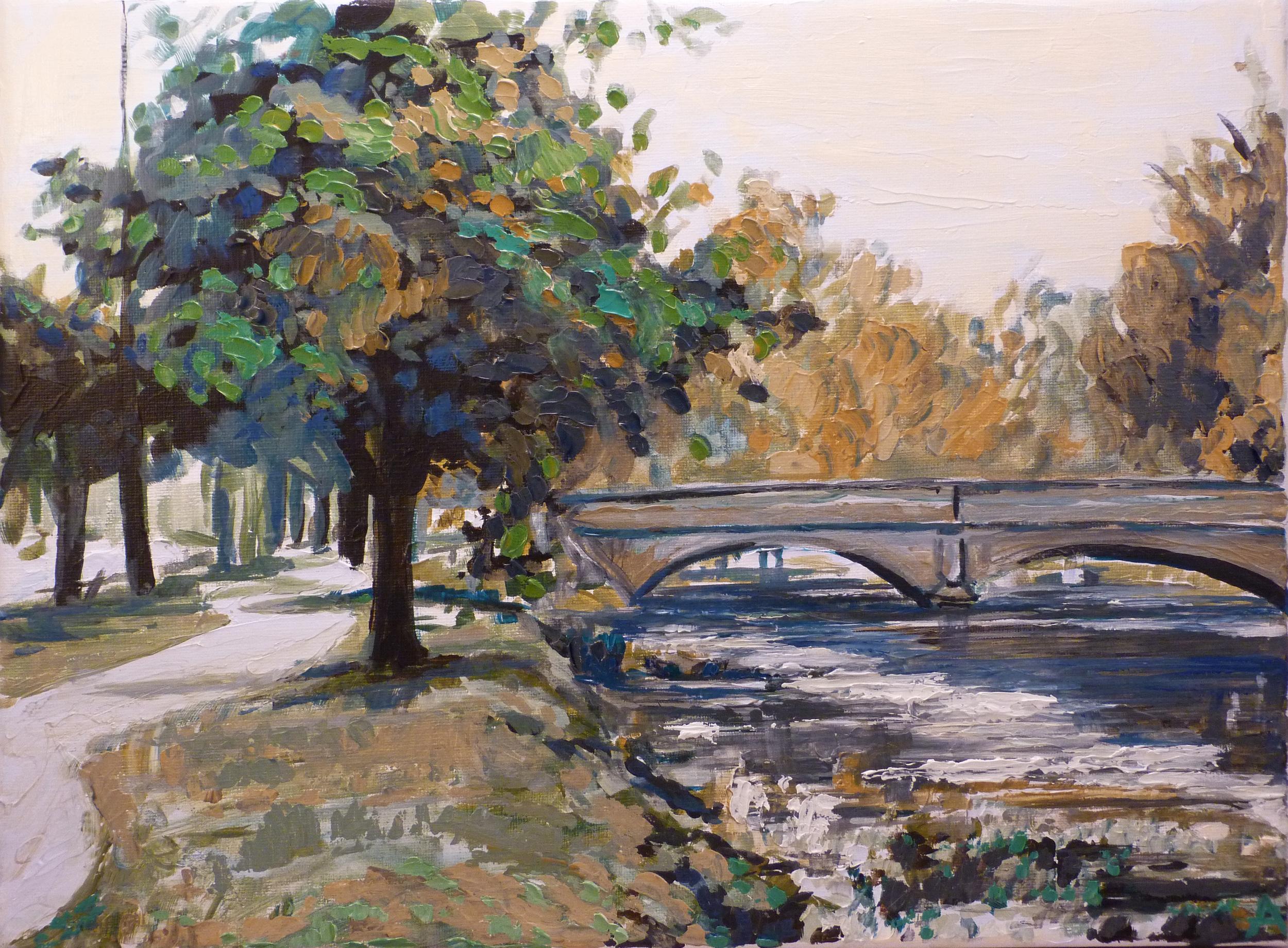 """SOLD, The Illinois Street Bridge, Copyright 2012 Hirschten, Oil on Canvas, 9"""" x 12"""""""
