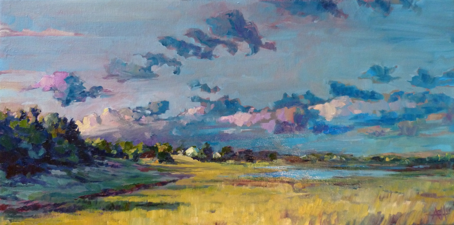 """SOLD, Carrot Island Looking North, Copyright 2014 Hirschten, Oil on Canvas. 12"""" x 24"""""""