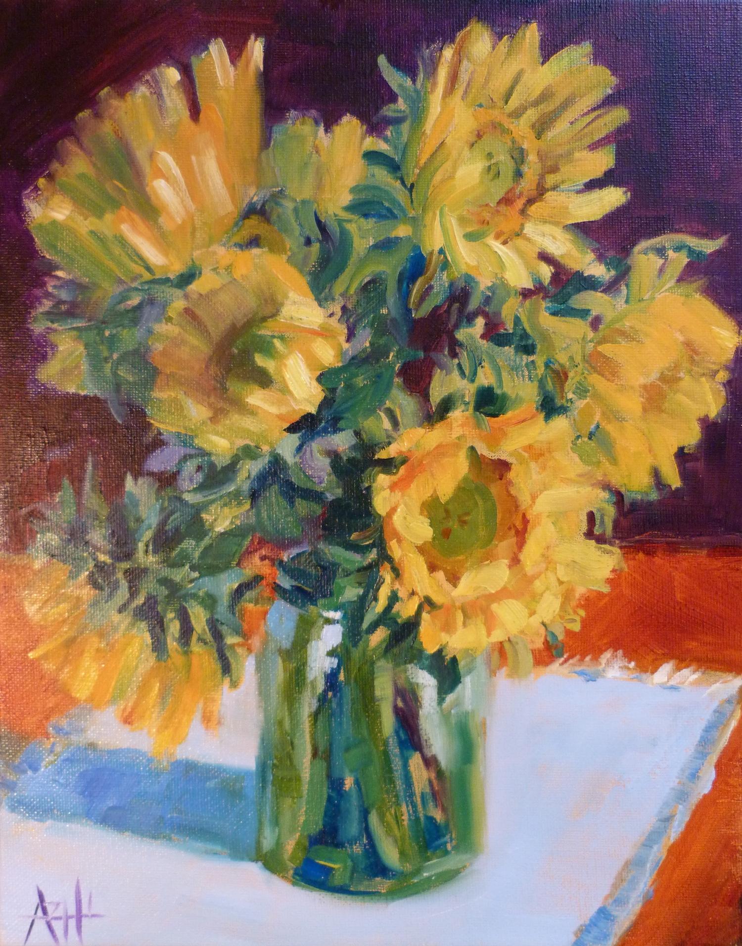 "SOLD, Sunflowers in a Jar, Copyright 2014 Hirschten, Oil on Canvas, 11"" x 14"""