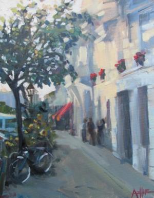"SOLD, Evening in Berlin, Copyright 2015 Hirschten, Oil on Canvas 11"" x 14"""