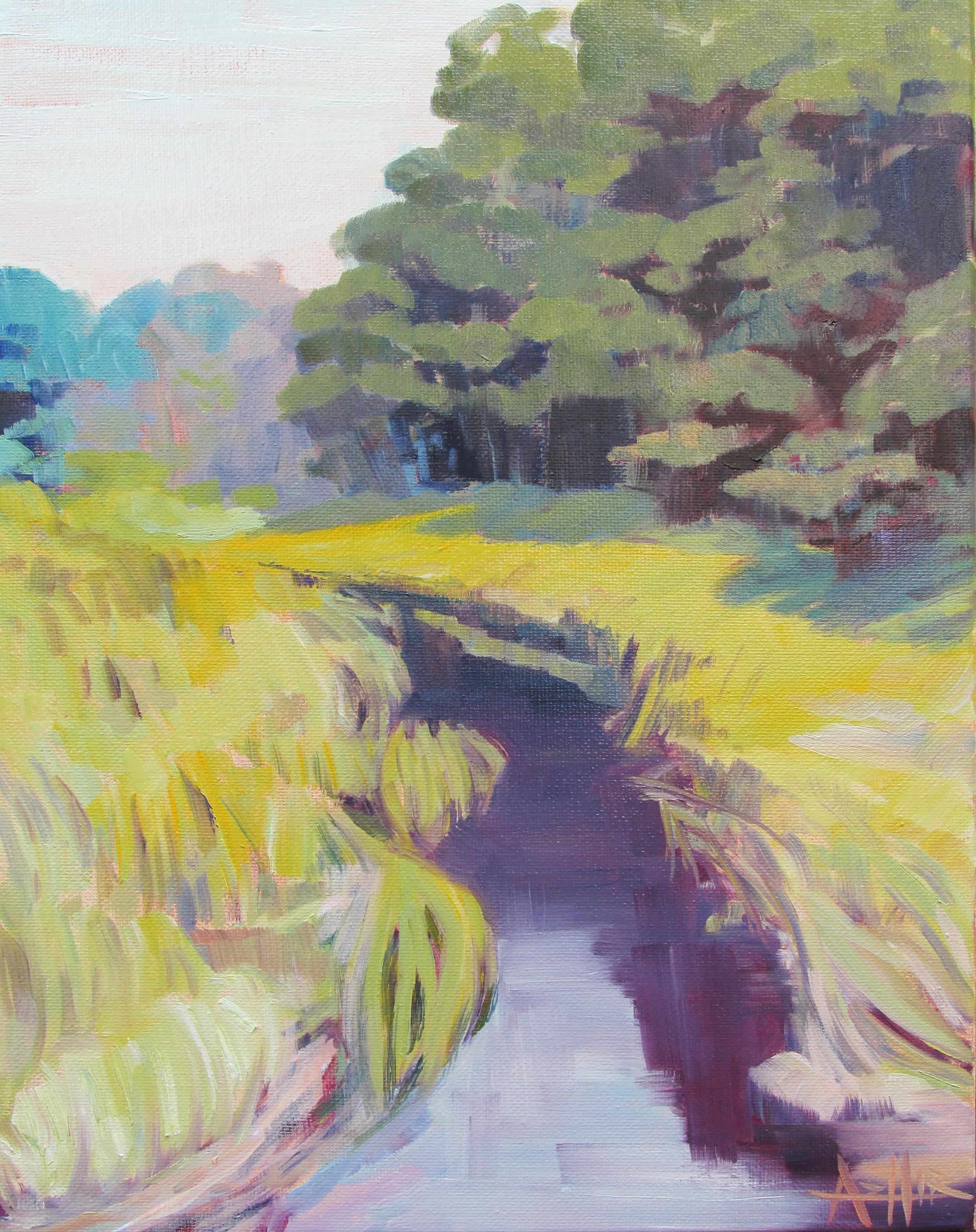 "SOLD, Dunes Creek, Copyright 2015 Hirschten, Oil on Canvas 11"" x 14"""