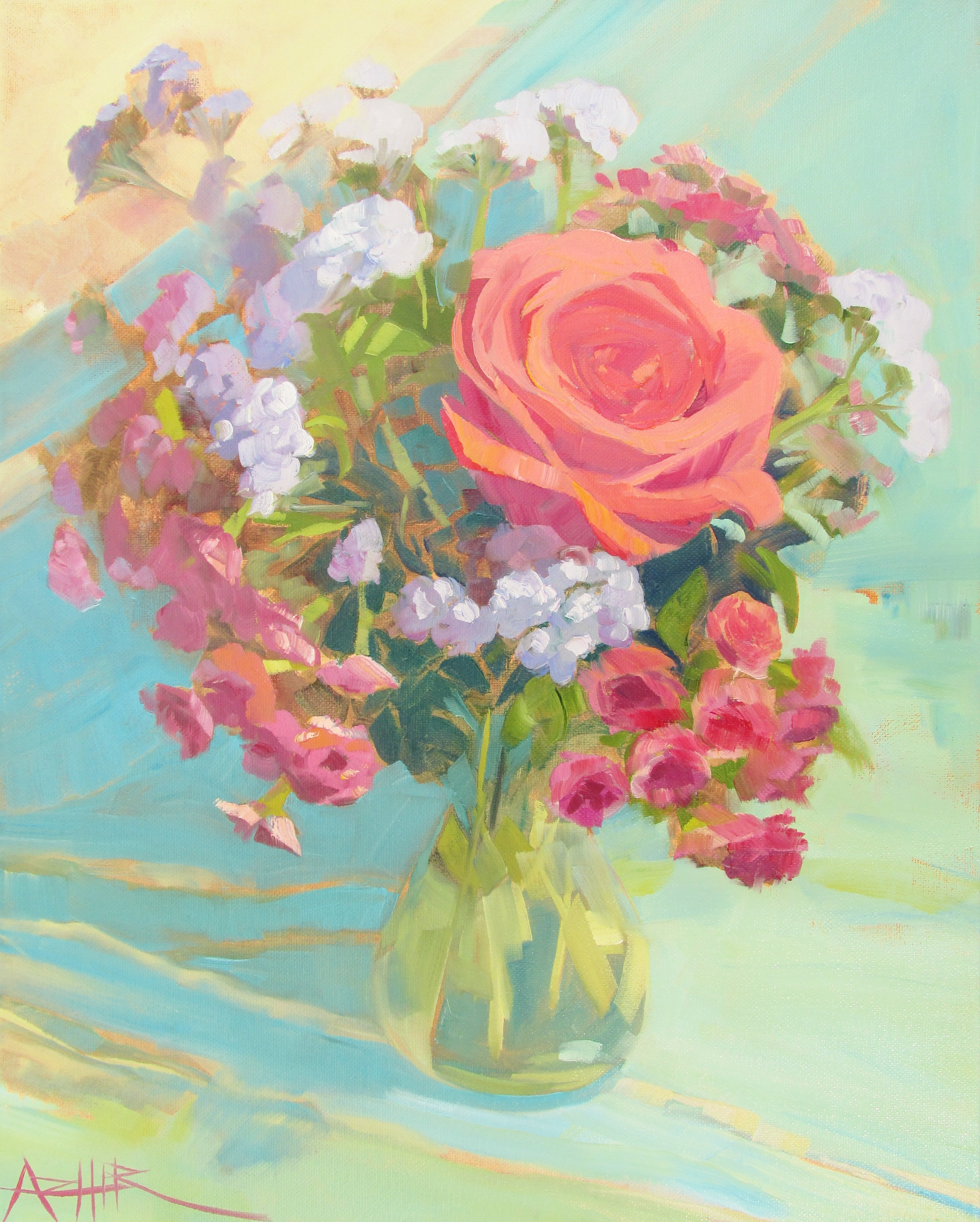 """SOLD, The Heart of Roses, Copyright 2015 Hirschten, Oil on Canvas, 16"""" x 20"""""""