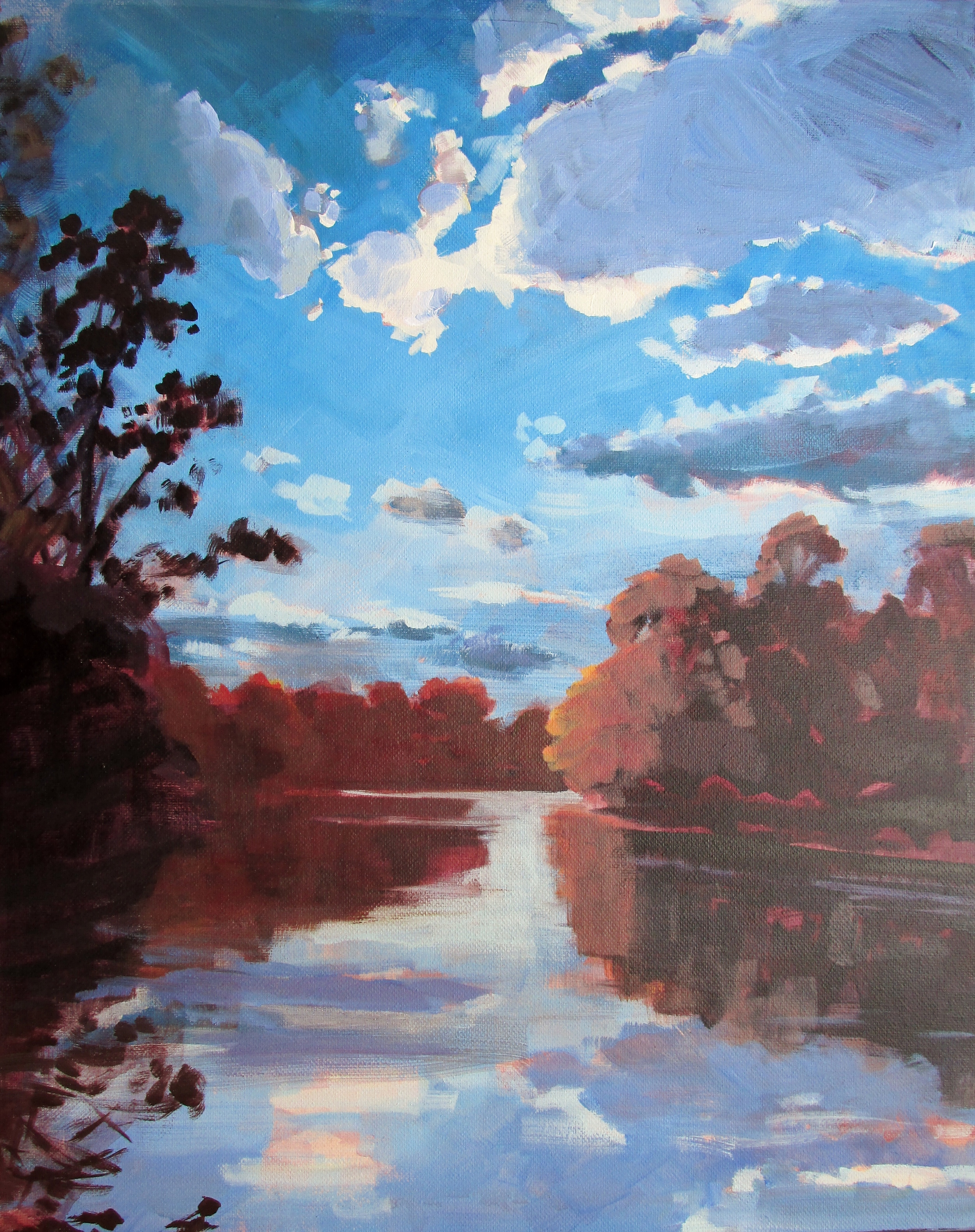 """SOLD, The White River from Broad Ripple Park, Copyright 2015 Hirschten, 16"""" x 20"""""""