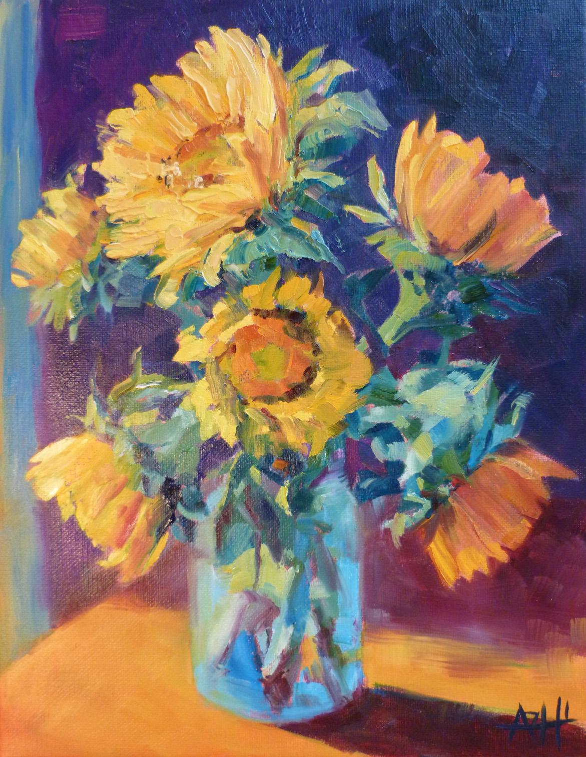 "SOLD, Sunflowers in the Light, Copyright 2014 Hirschten, Oil on Canvas 11"" x 14"""