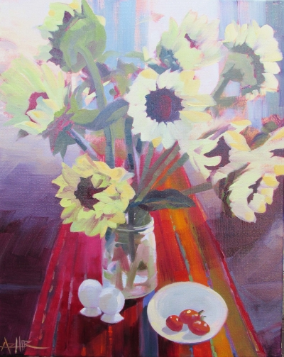 """SOLD, Blessings on the Table, Copyright 2015 Hirschten, Oil on Canvas, 16"""" x 20"""""""