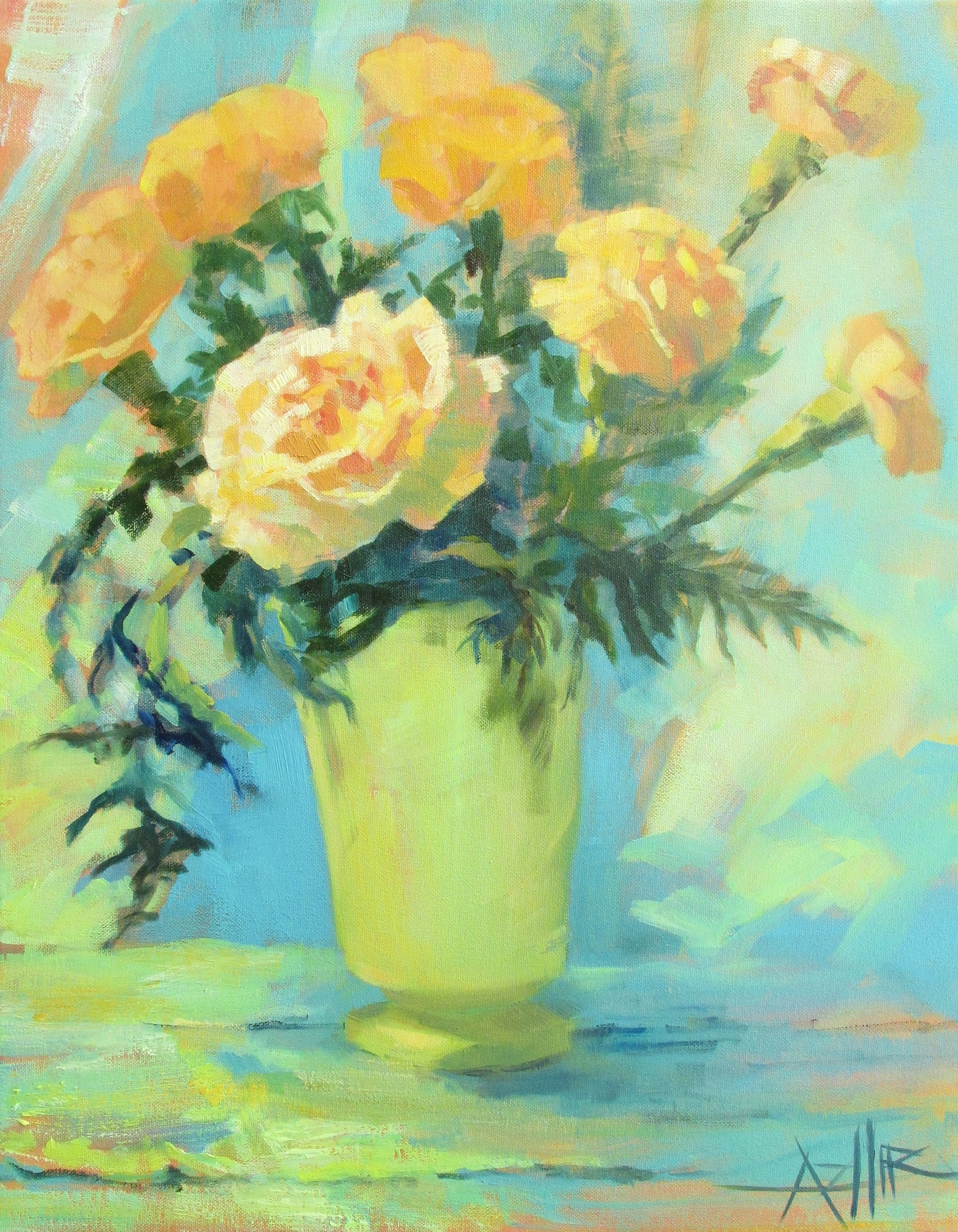 "SOLD, Carnations, Copyright 2015 Hirschten, Oil on Canvas, 16"" x 20"""