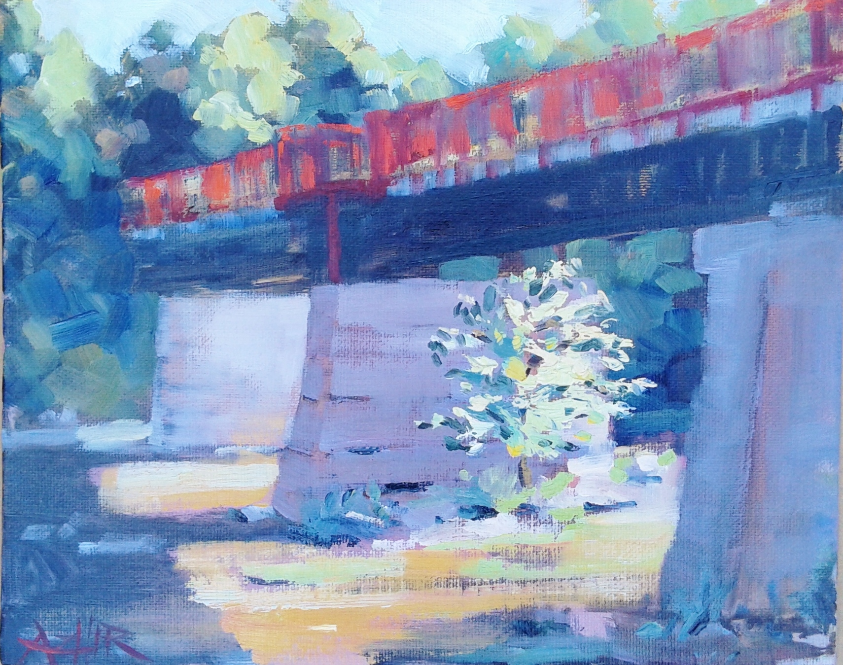 "SOLD, The Monon Bridge in Broad Ripple, Copyright 2016 Hirschten, Oil on Canvas, 8"" x 10"""