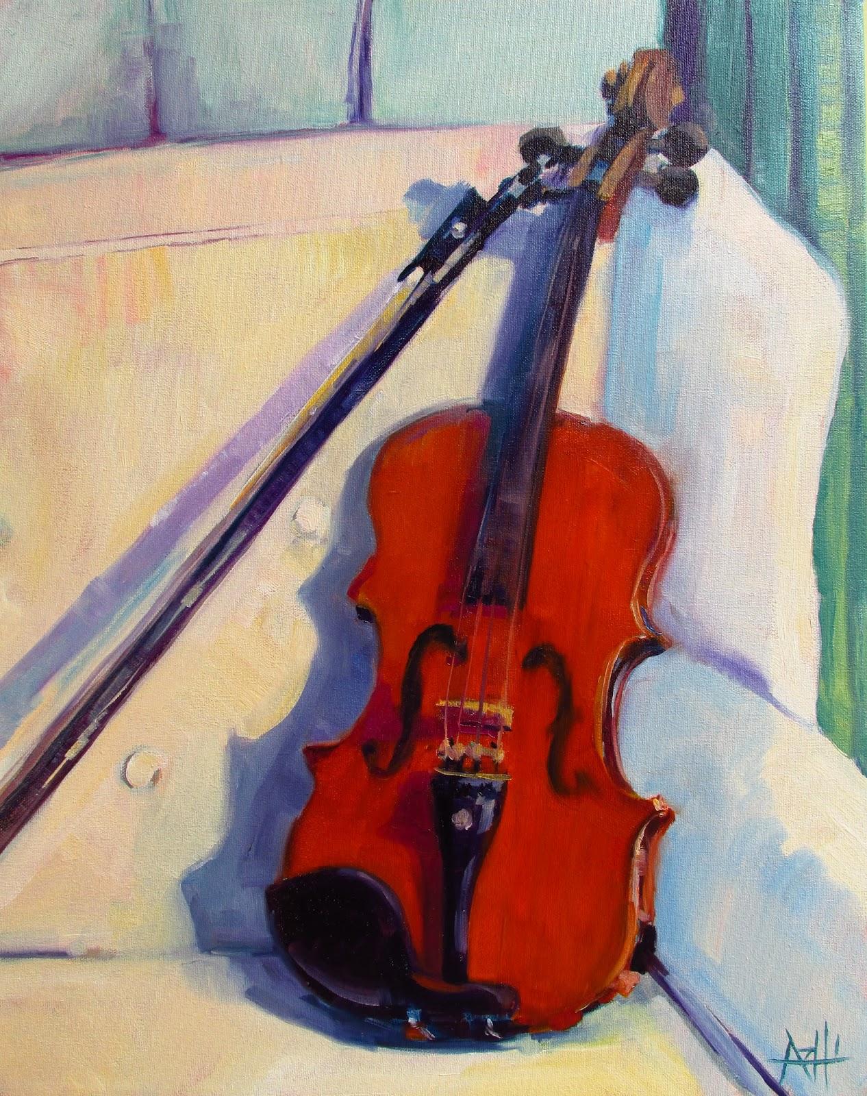 "SOLD, The Violin, Copyright 2016 Hirschten, Oil on Canvas, 16"" x 20"""