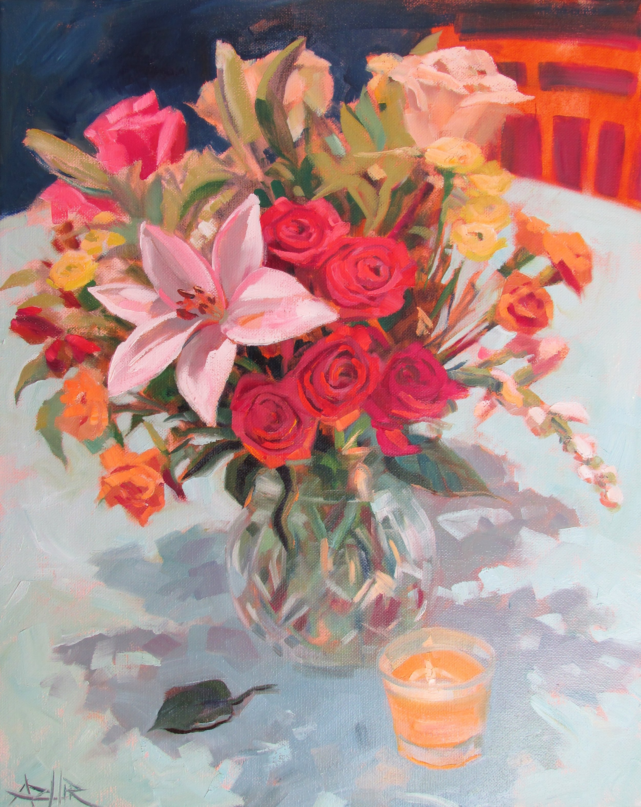 """SOLD, Flowers in the Evening, Copyright 2016, Oil on Canvas, 16"""" x 20"""""""