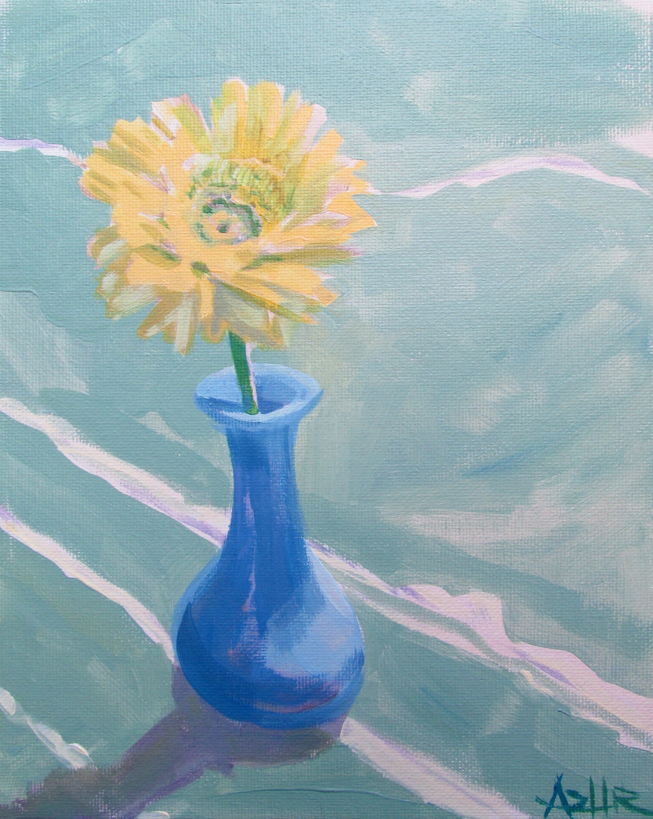 "SOLD, Sunshine in a Bottle, Copyright 2016 Hirschten, Oil on Canvas, 8"" x 10"""
