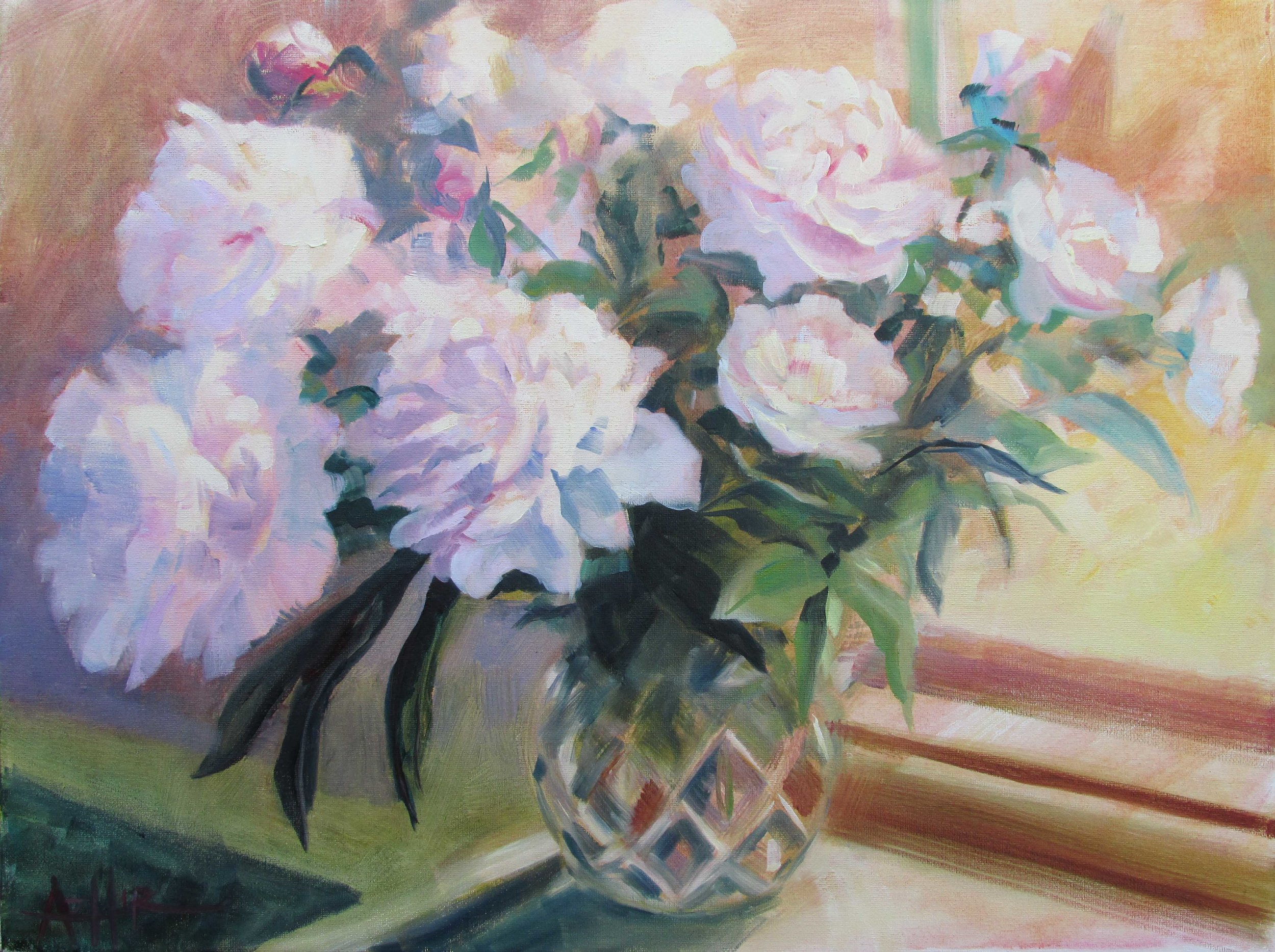 """SOLD, Peonies in a Cut Glass Vase, Copyright 2015 Hirschten, Oil on Canvas, 16"""" x 20"""""""