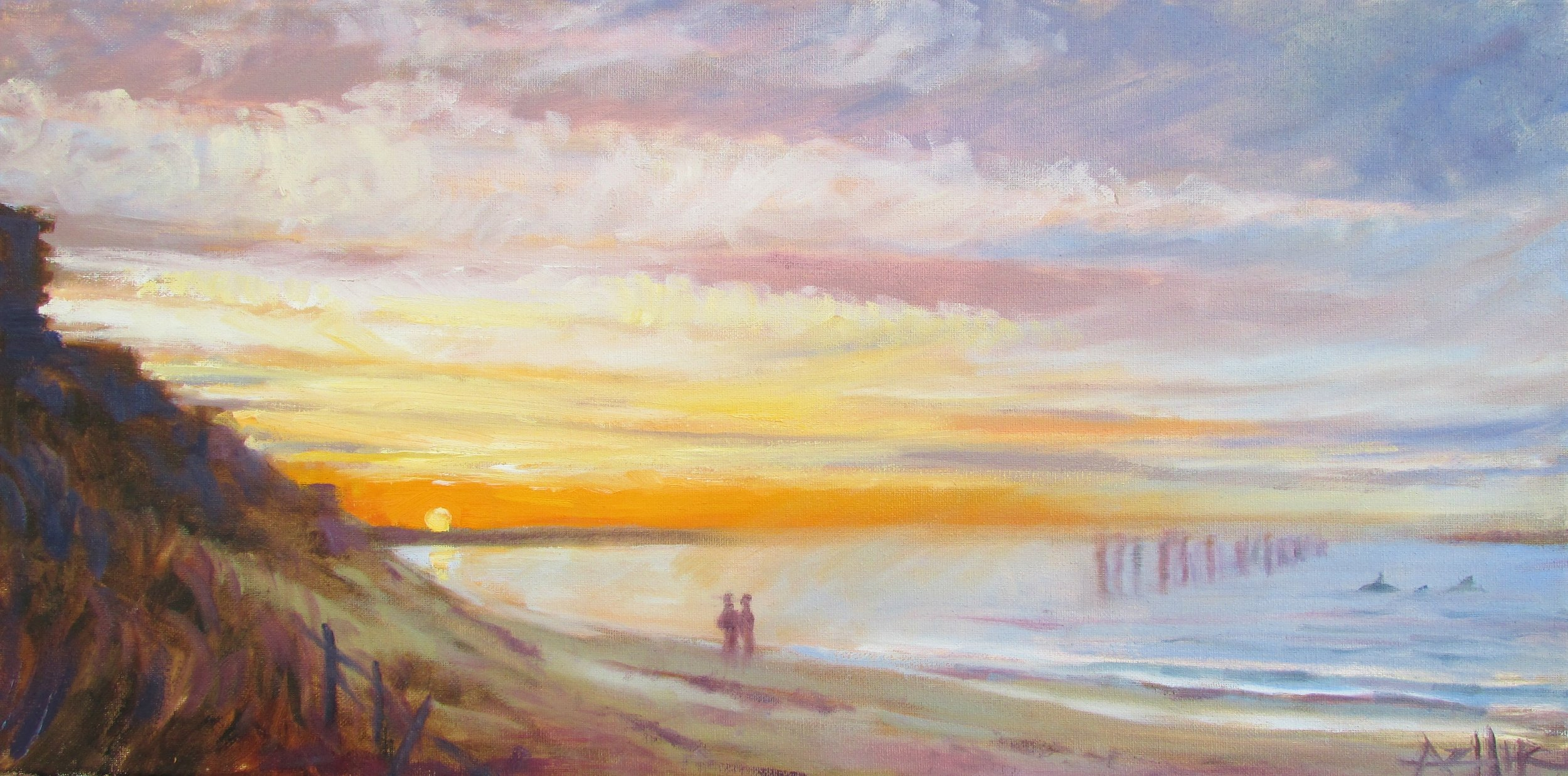 "SOLD, Memories of Virginia Beach, Copyright 2016, Oil on Canvas, 12"" x 24"""