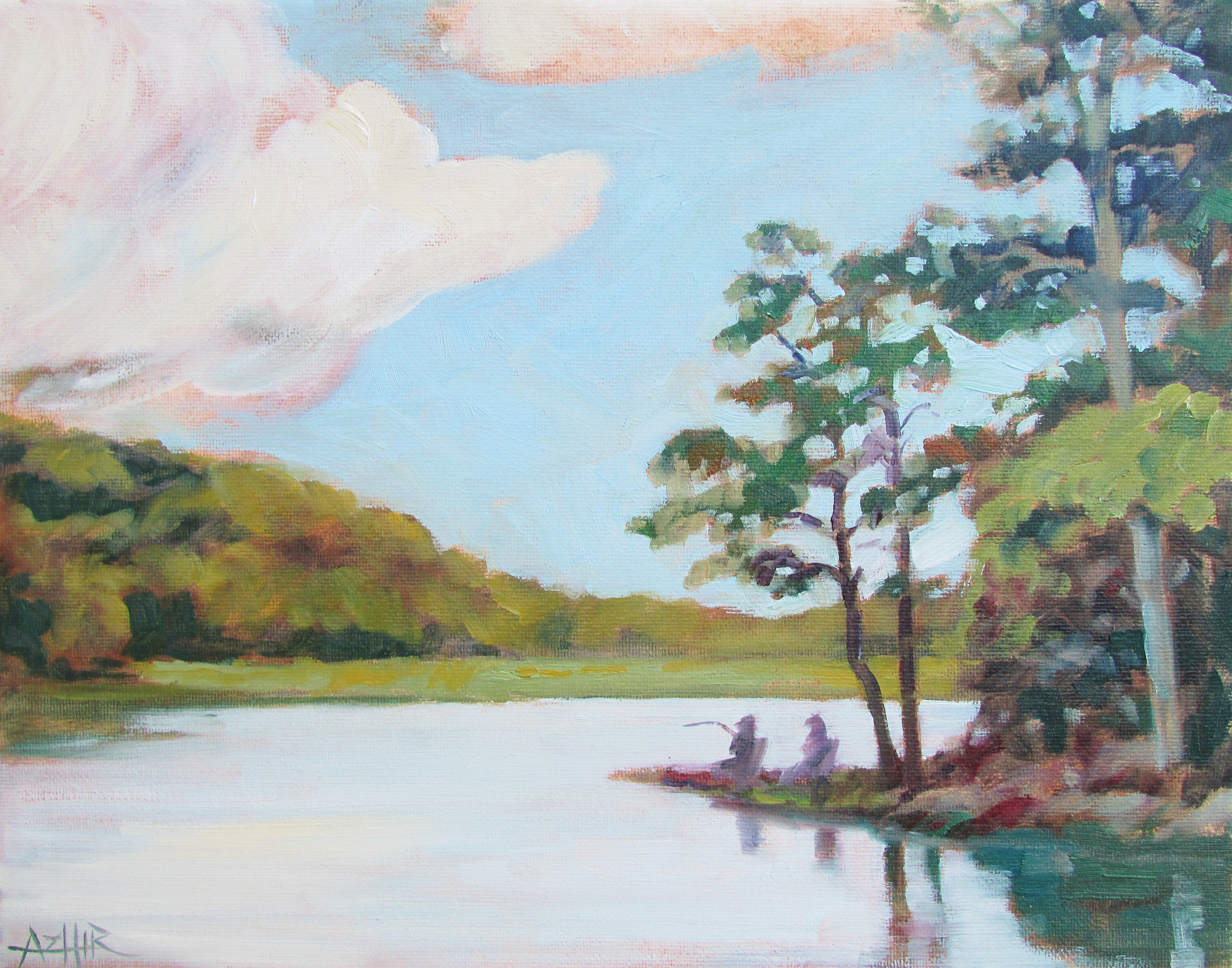 """SOLD, Fishing in Brown County, Copyright 2016, Oil on Canvas, 11"""" x 14"""""""
