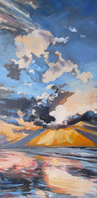 """SOLD, For the Beauty of the Skies, Copyright 2016, Oil on Canvas, 12"""" x 24"""""""