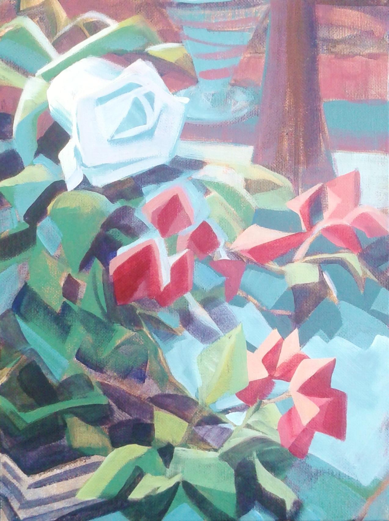 "Cubist Still Life, SOLD Copyright 2017, Acrylic on Canvas, 11"" x 14"""