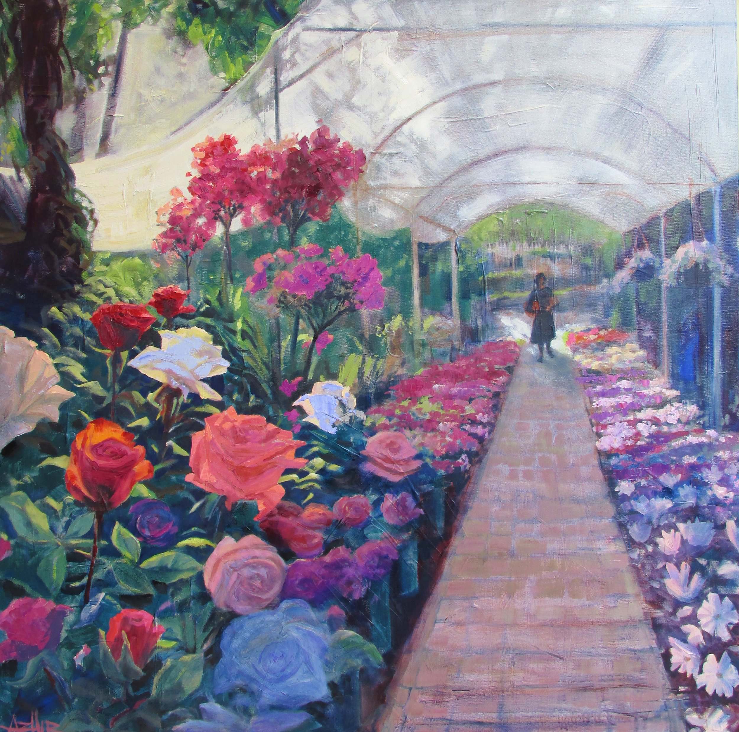 """SOLD, Flower Sale in the Park, Copyright 2016, Oil on Canvas, 36"""" x 36"""""""