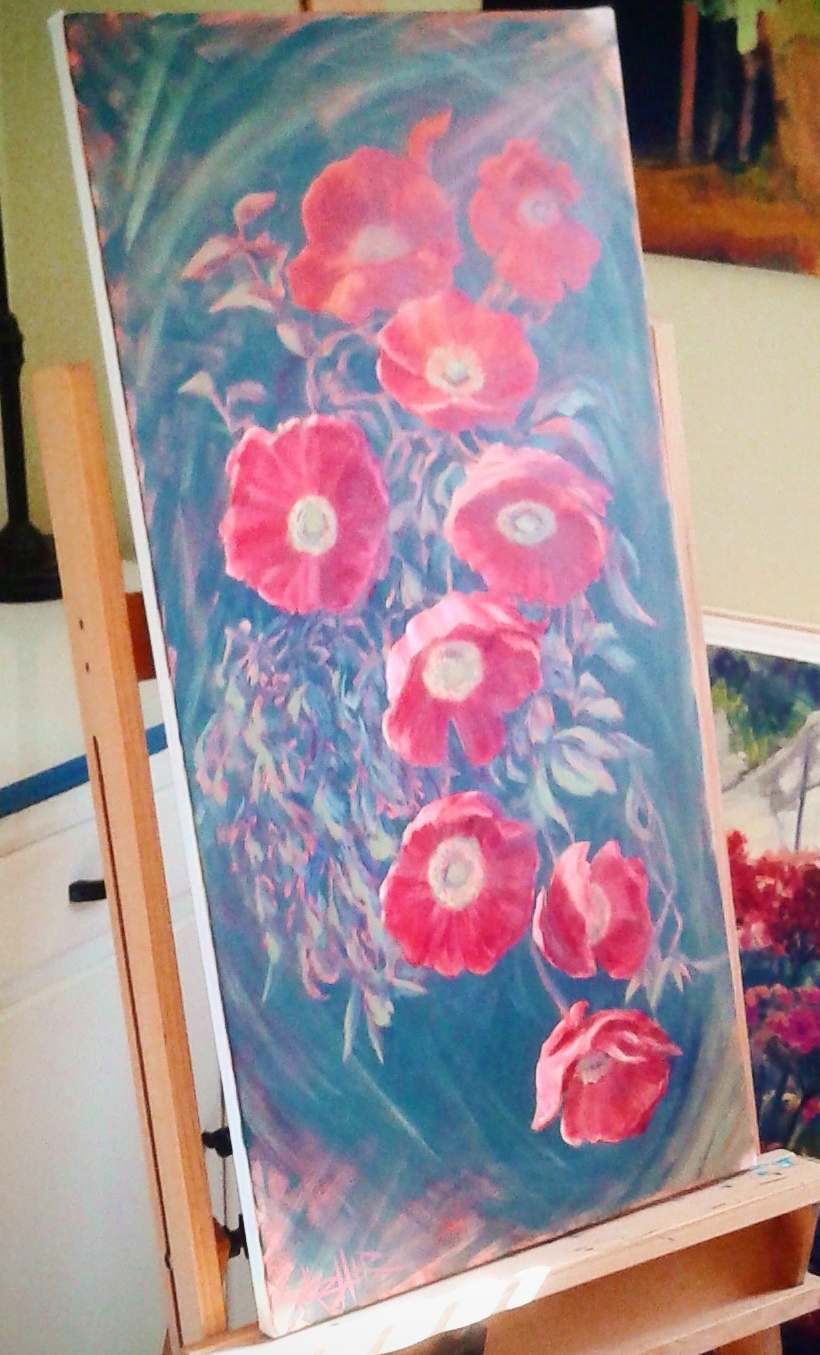 """SOLD, Cascade of Poppies, Copyright 2017, Acrylic on Canvas, 24"""" x 36"""""""