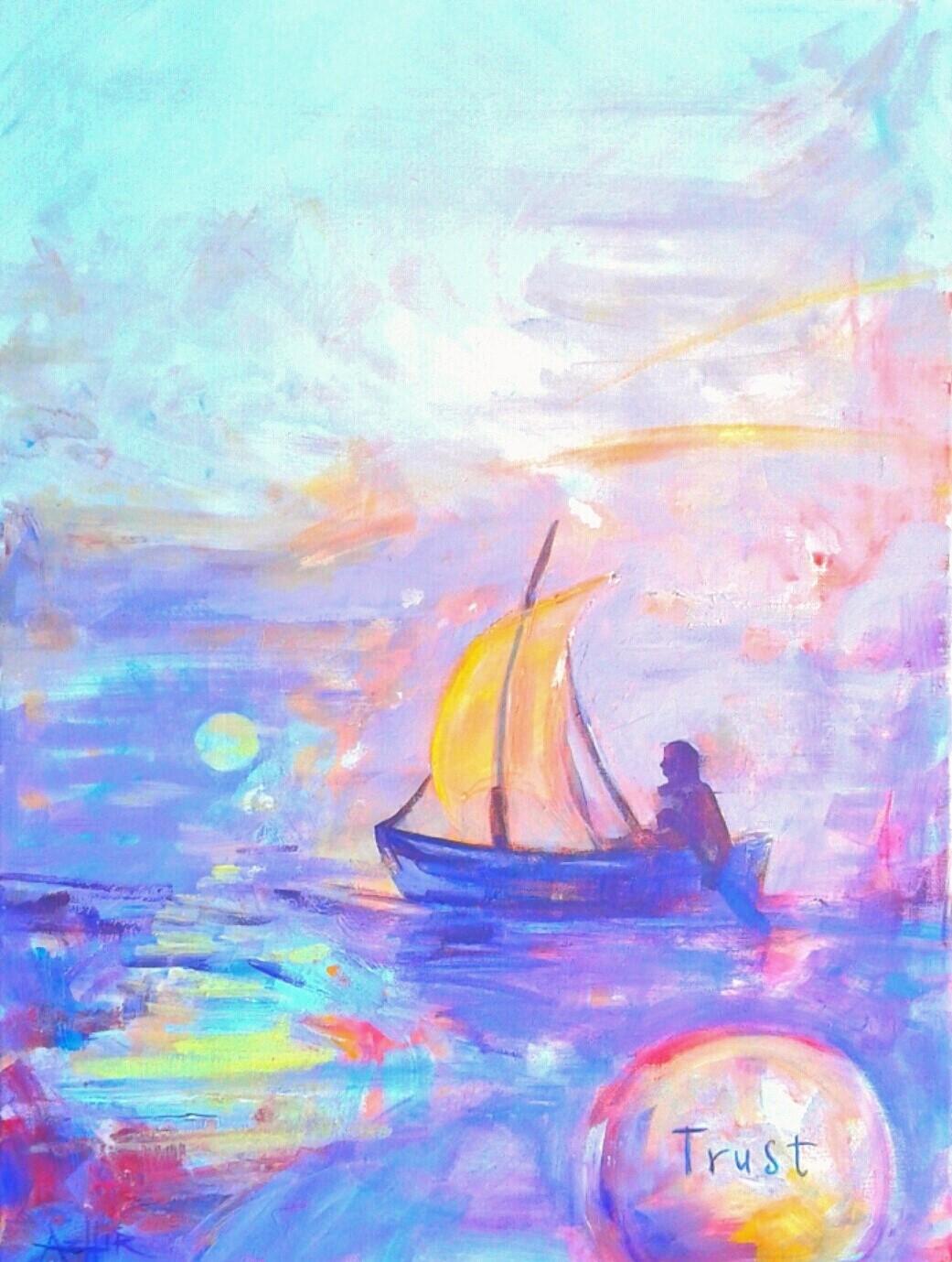 "SOLD, Trust, Copyright 2016, Acrylic on Canvas, 18"" x 24"""