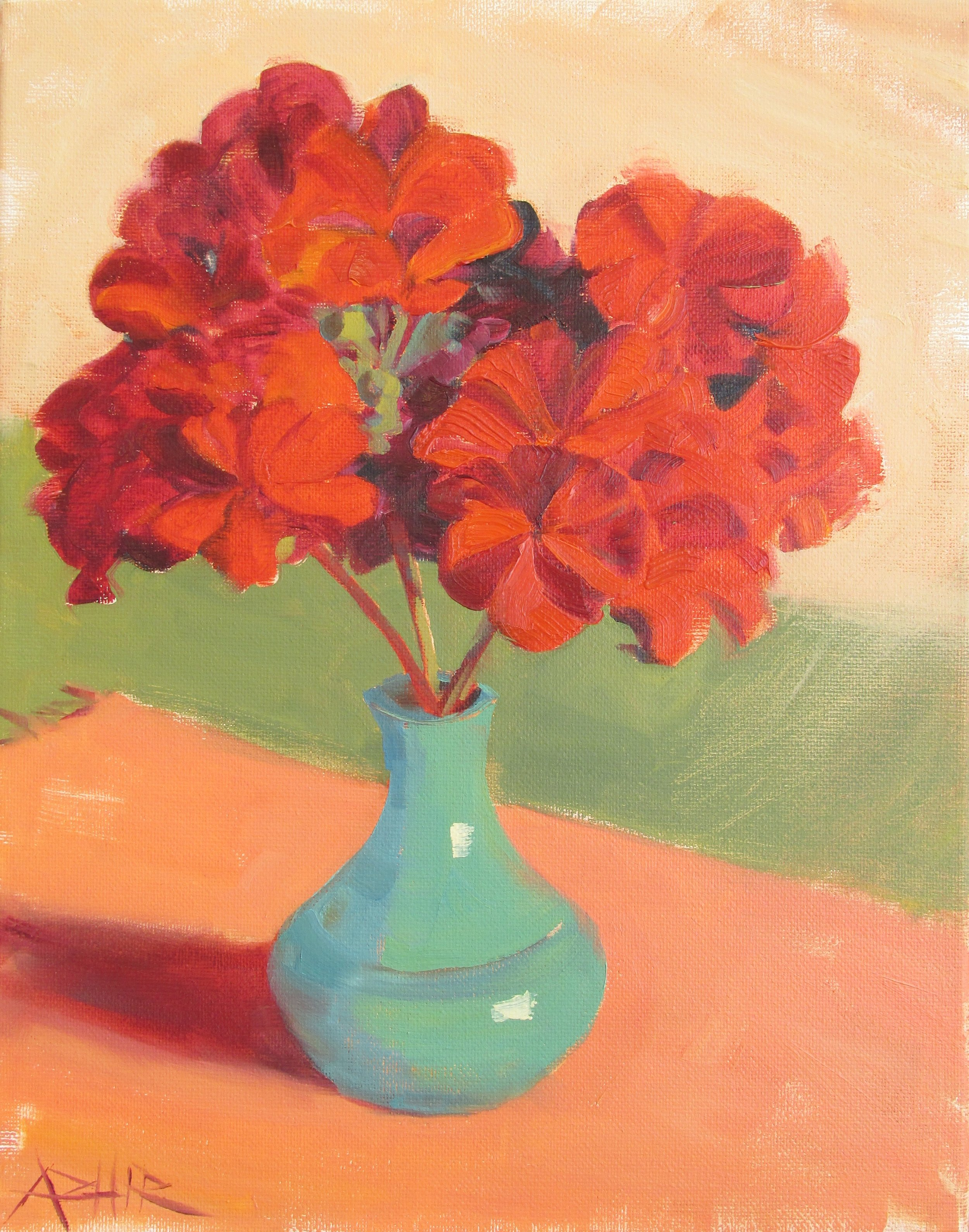 """SOLD, Geraniums, Copyright 2017, Oil on Canvas, 11"""" x 14"""""""