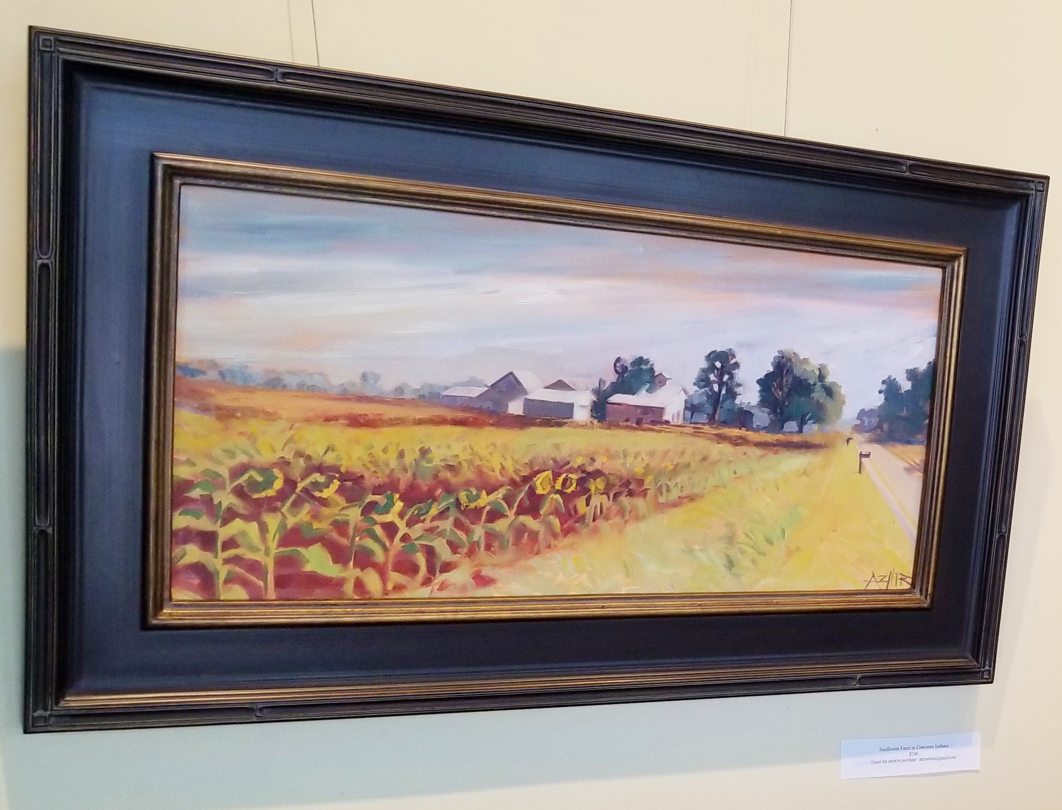 """SOLD, Sunflower Field in Converse Indiana, Copyright 2017, Oil on Canvas, 12"""" x 24"""""""