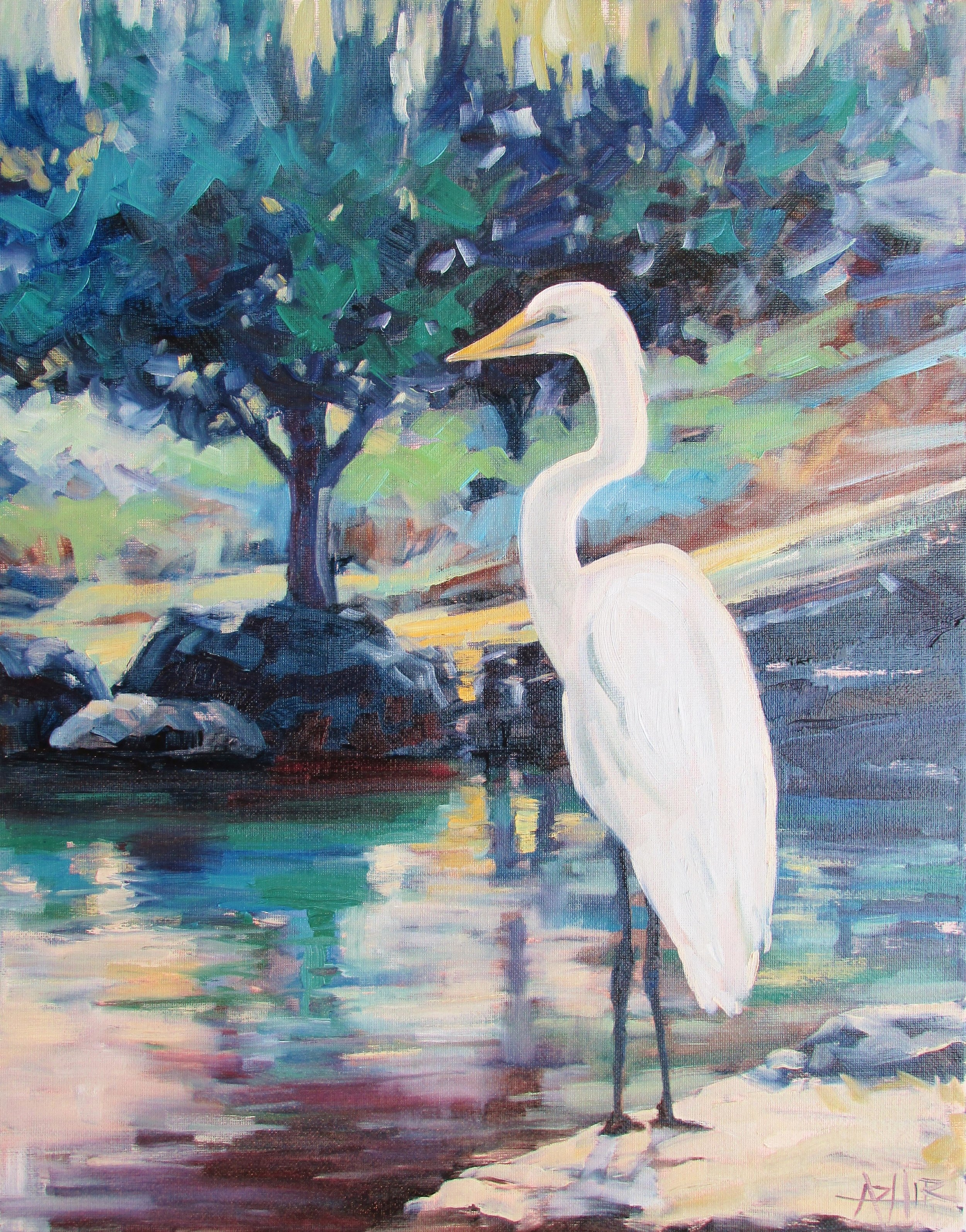 """SOLD, The Egret, Copyright 2017, Oil on Canvas, 16"""" x 20"""""""