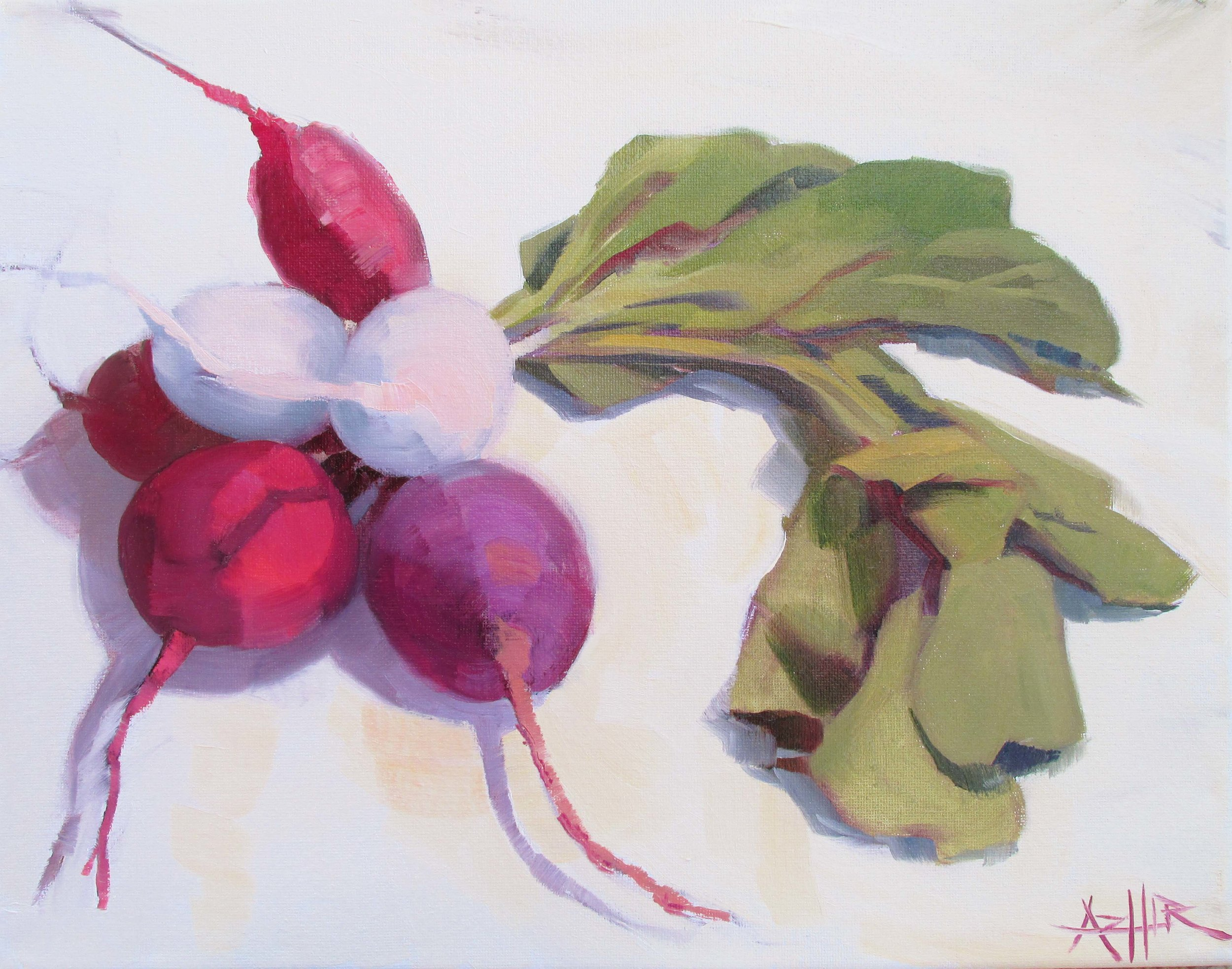 """SOLD, Radishes, Copyright 2016, Oil on Canvas, 11"""" x 14"""""""