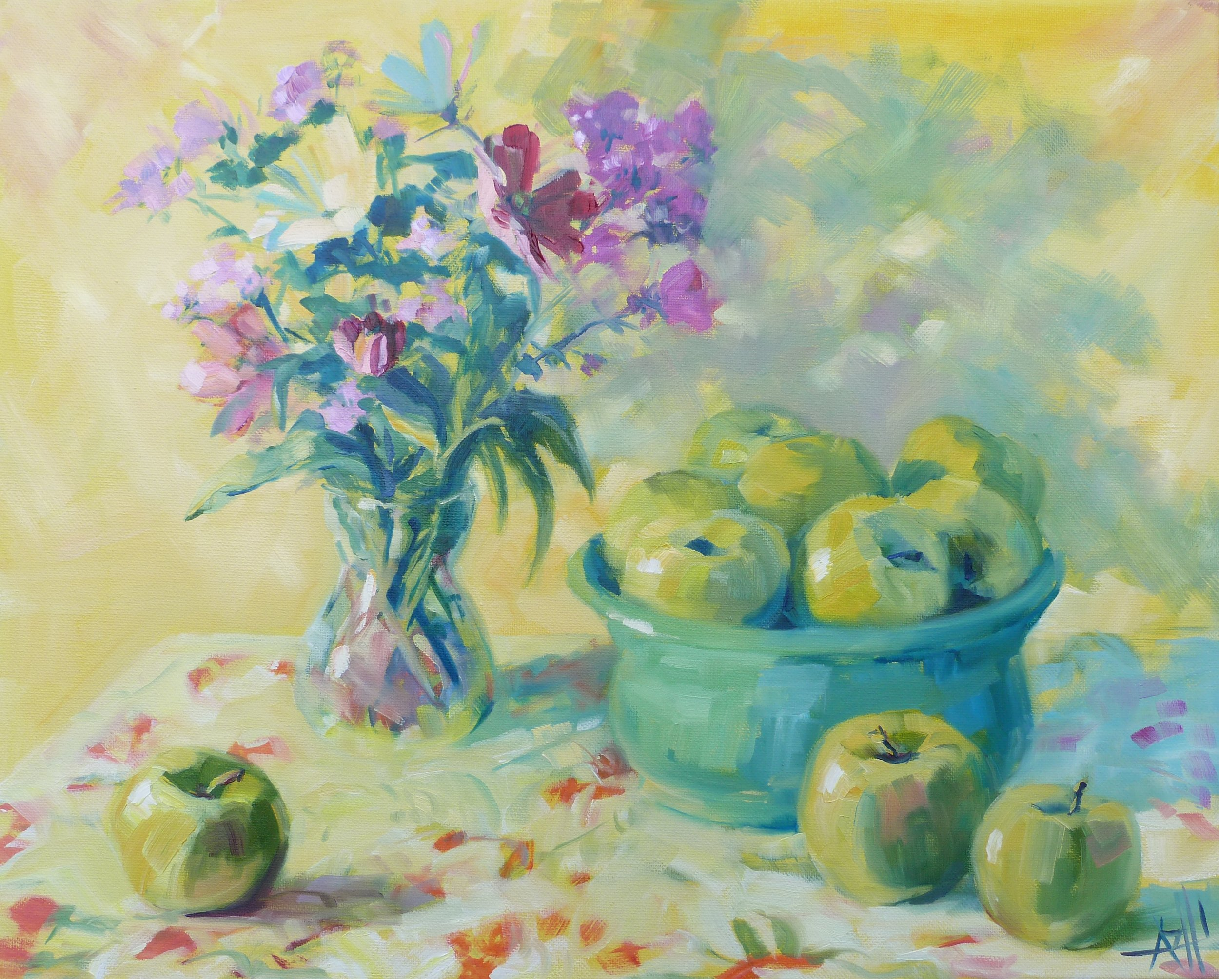 """SOLD, Flowers in the Kitchen, Copyright 2014, Oil on Canvas, 16"""" x 20"""""""