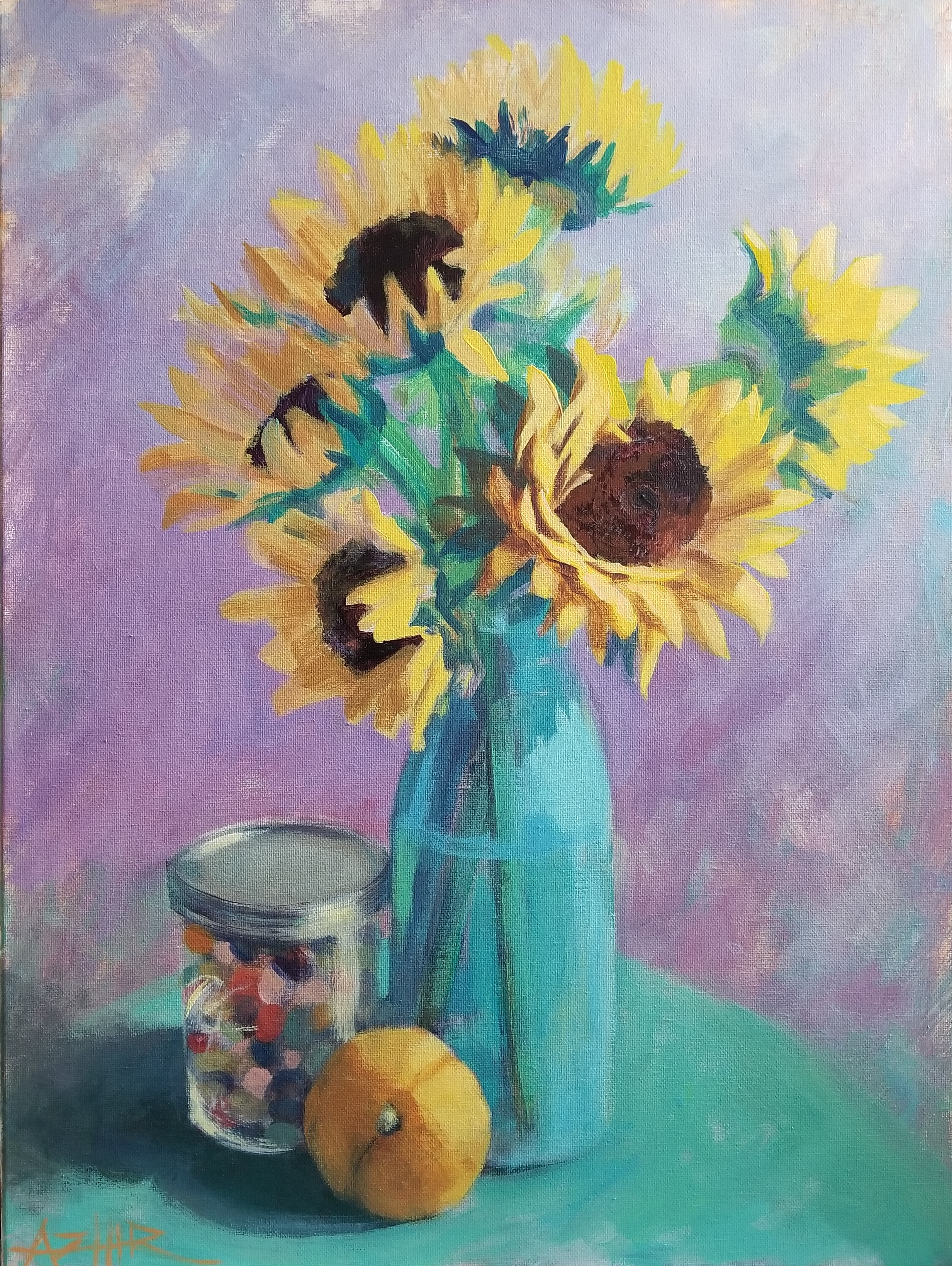 """SOLD, Jellybeans and Sunflowers, Copyright 2018, Oil on Canvas, 18"""" x 24"""""""