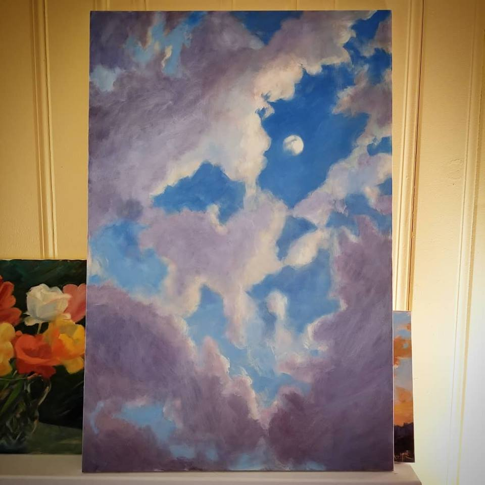 SOLD, Moon and Rain Clouds, Oil on Canvas, Copyright 2018 Hirschten