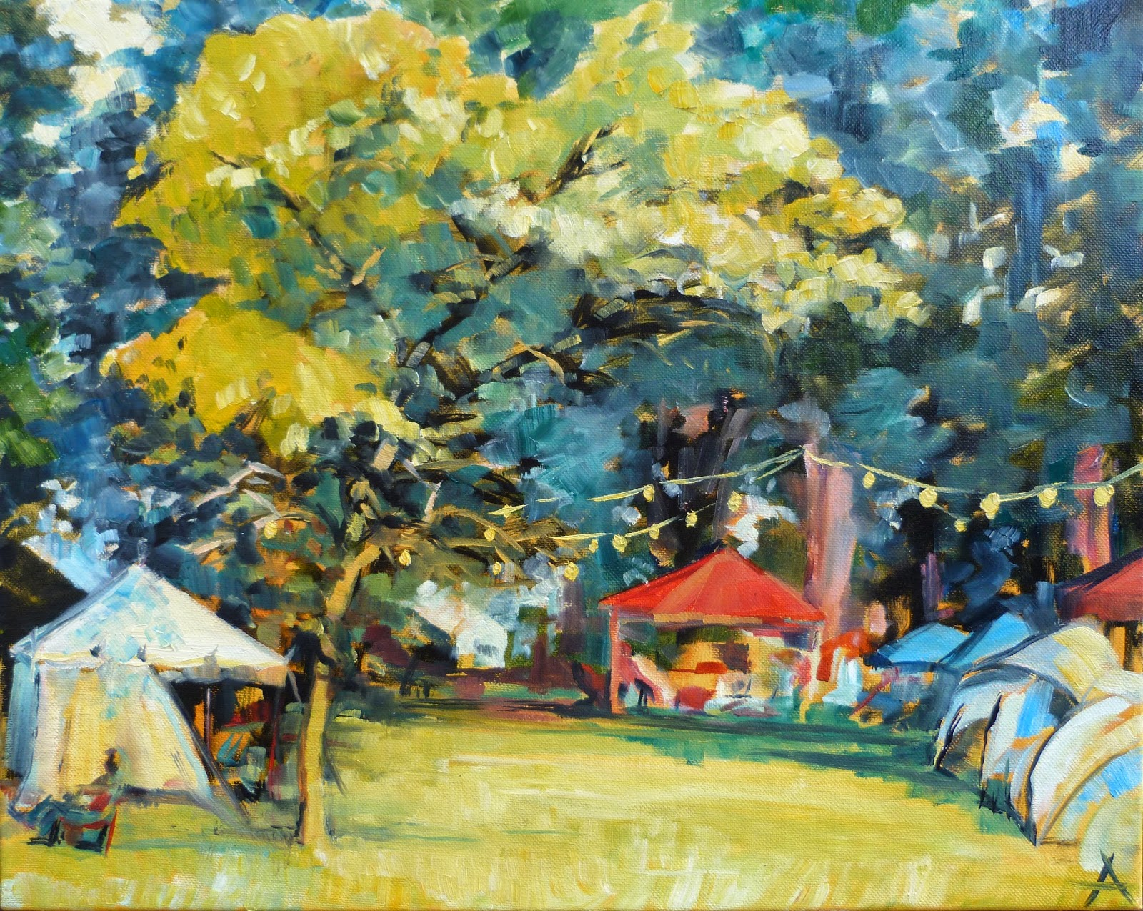 SOLD, The Indiana Fiddler's Gathering, Oil on Canvas, Copyright 2014 Hirschten