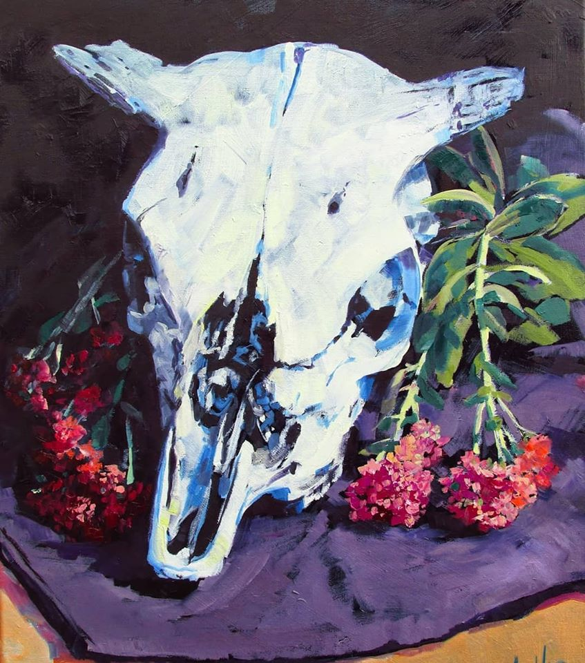 SOLD, Sedums and Skull, Oil on Canvas, Copyright 2016 Hirschten