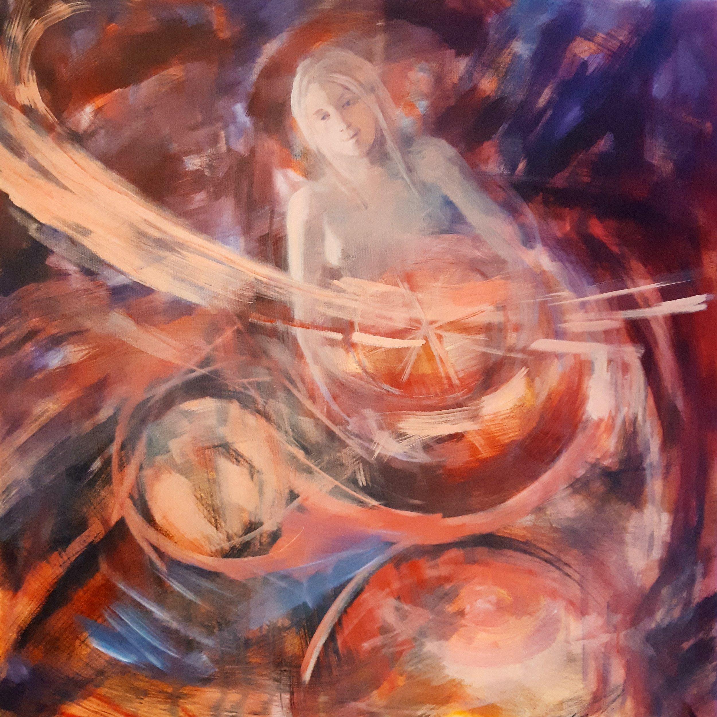 SOLD, Holding, Acrylic on Canvas, Copyright 2019 Hirschten