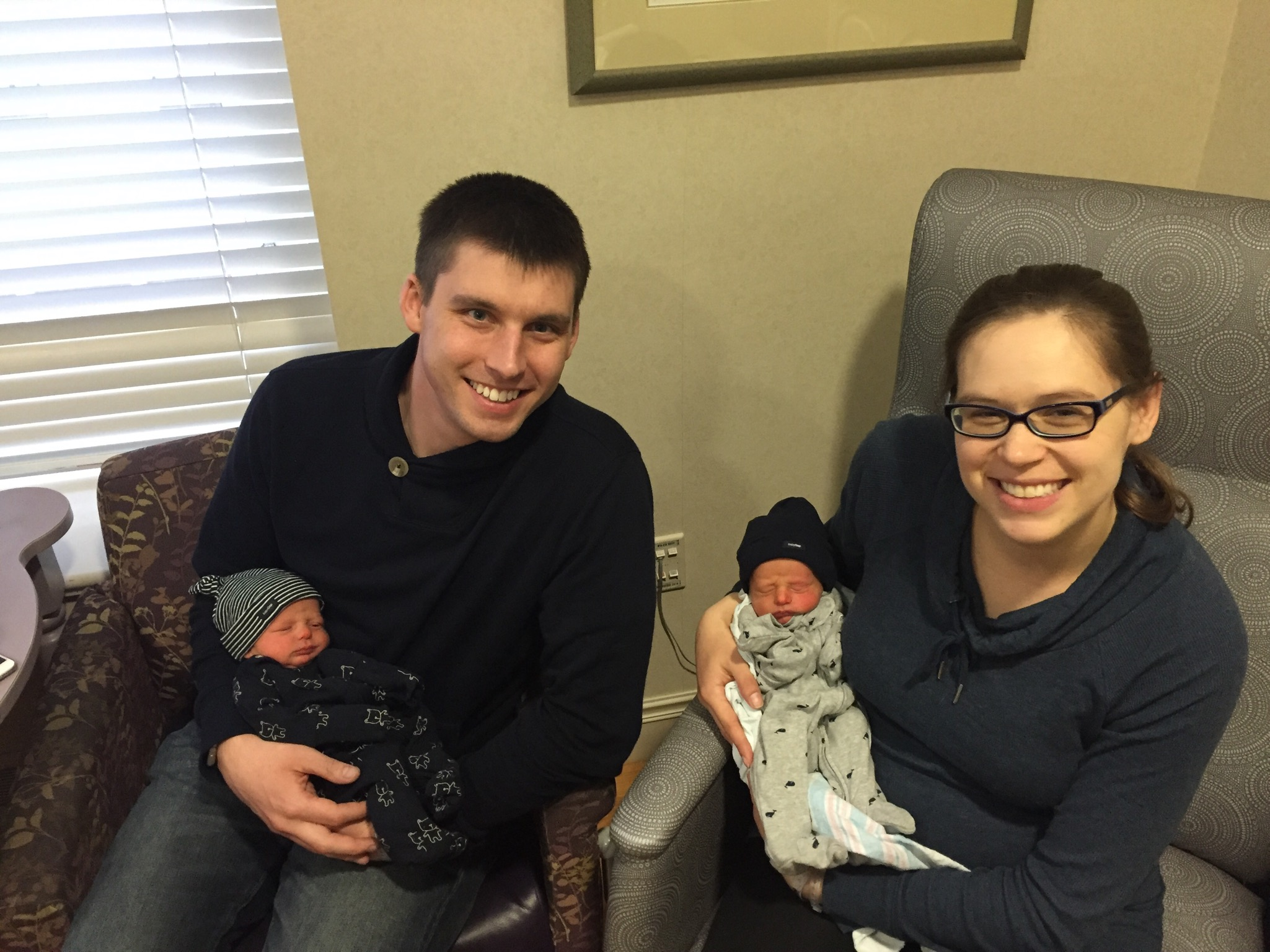 Family picture before being discharged Sunday 3/27/16 - 4 days old