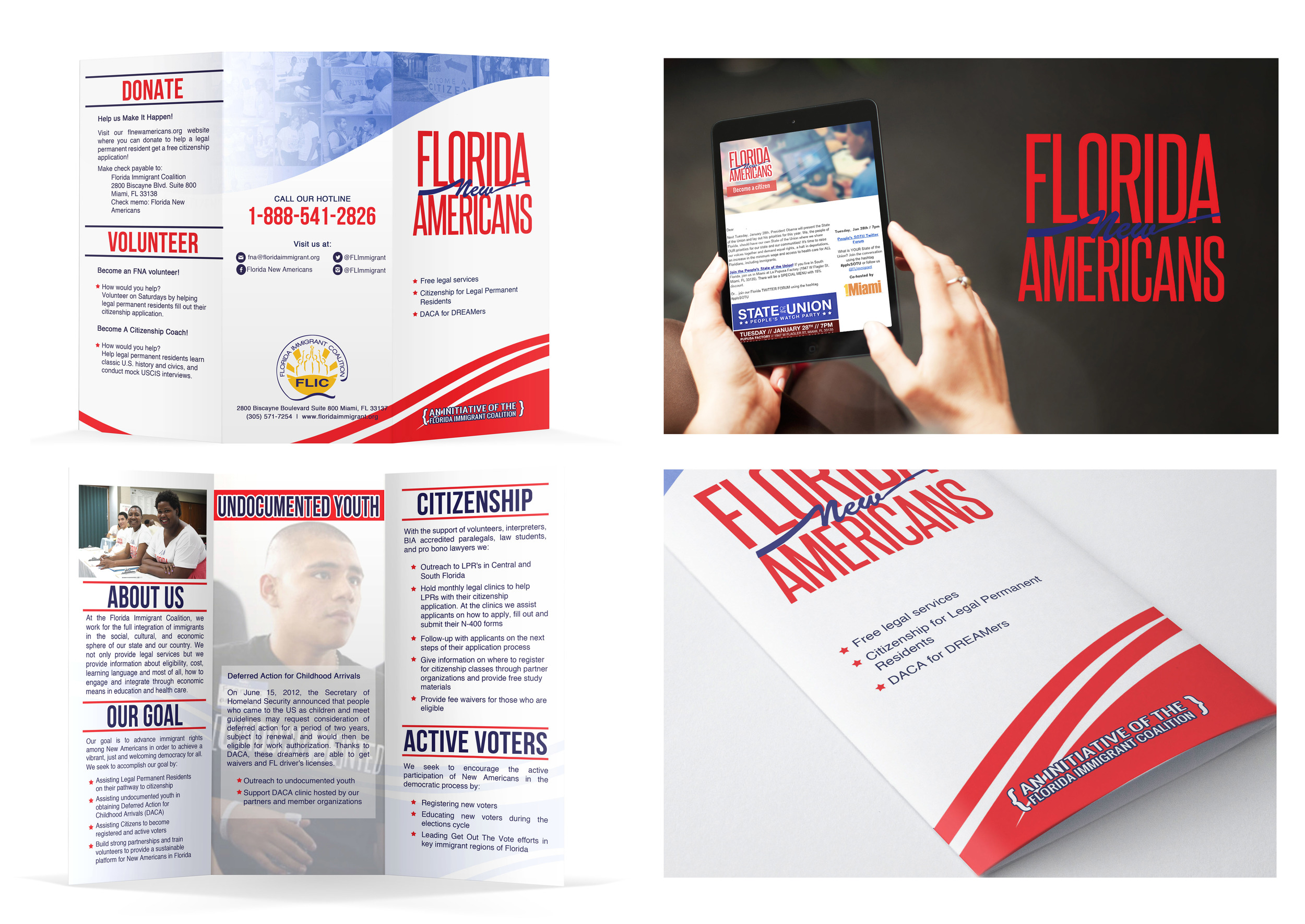 Client: Florida Immigrant Coalition  Type: Program Brochure and Email Newsletter