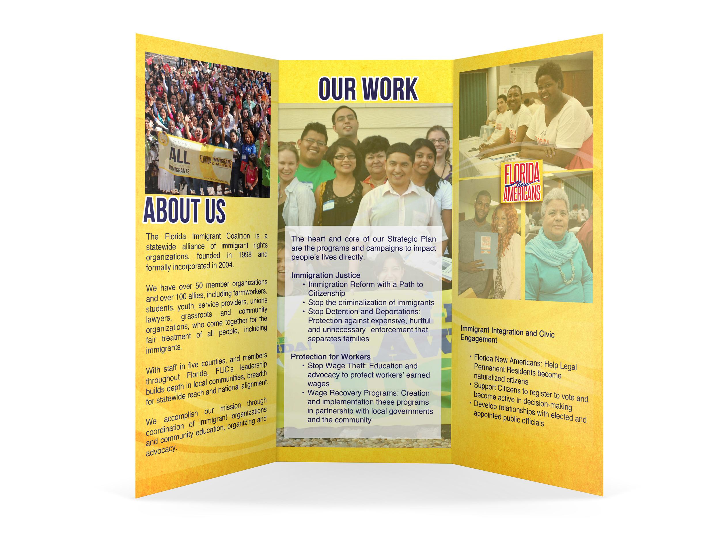 Client: Florida Immigrant Coalition  Type: Organizational Brochure