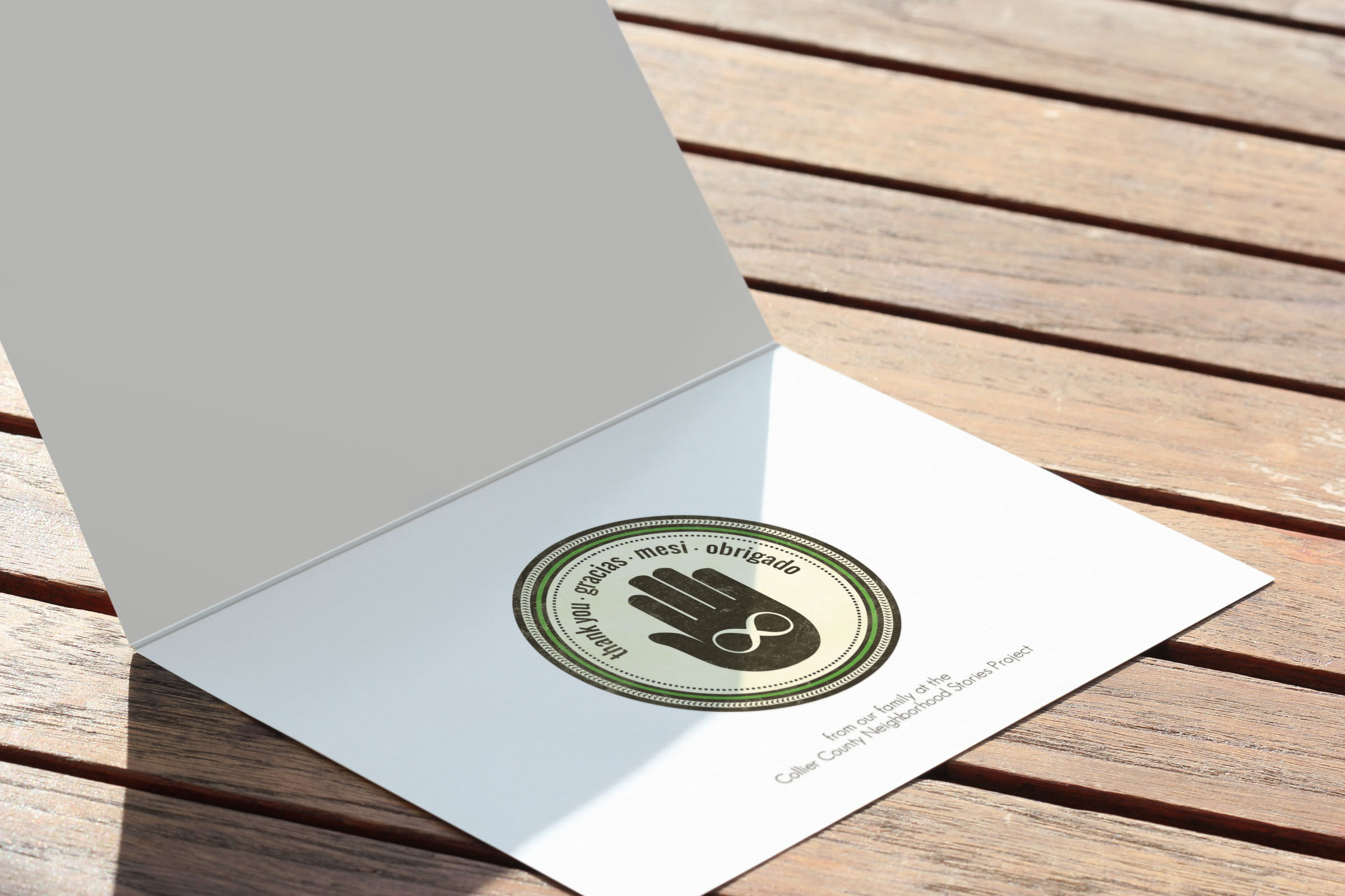 Client: Collier County Neighborhood Stories Project  Type: Thank You Card