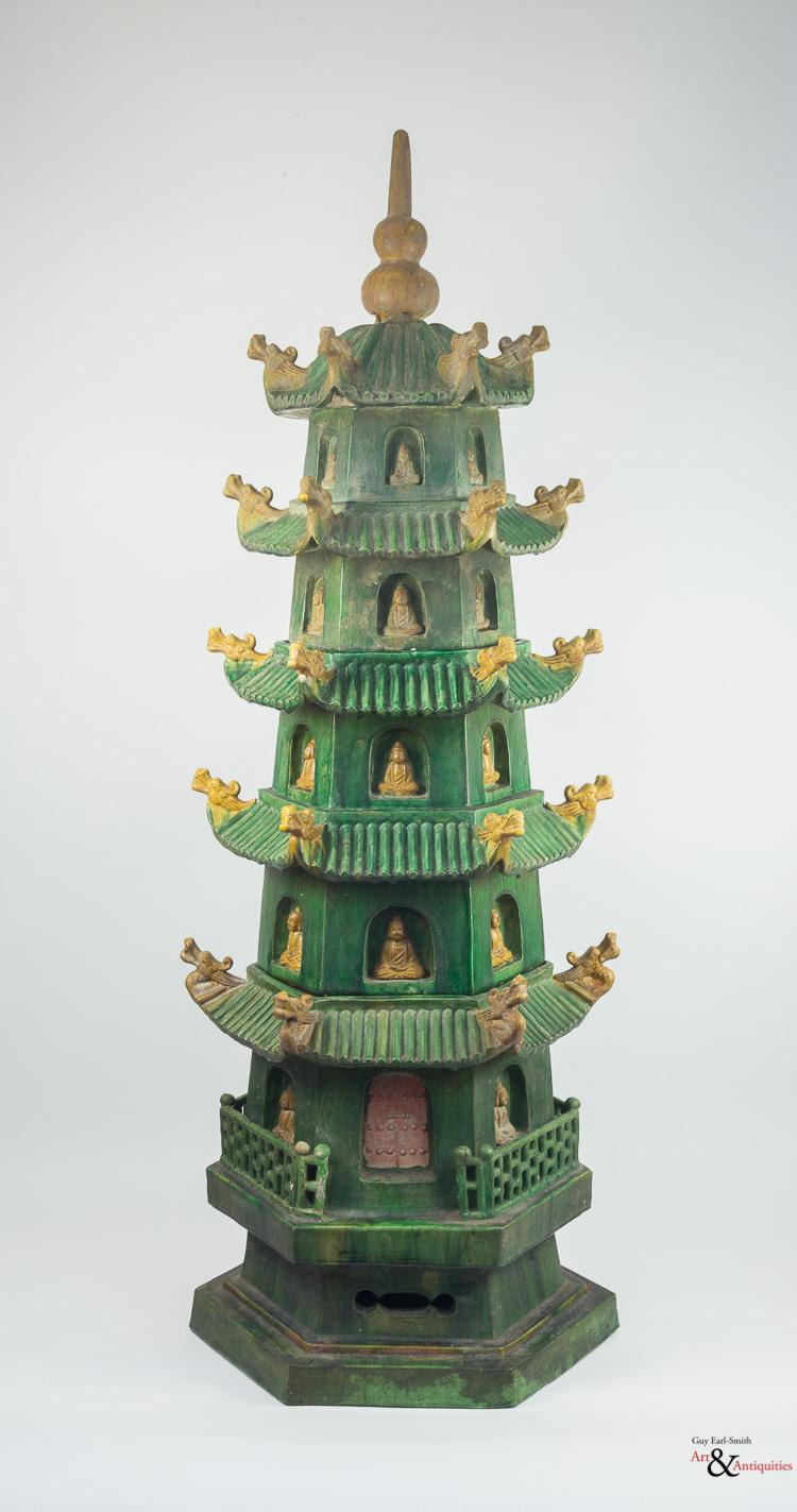 A Sancai-Glazed Qing Dynasty Ceramic Pagoda, Jiaqing Period, c. 1796-1820
