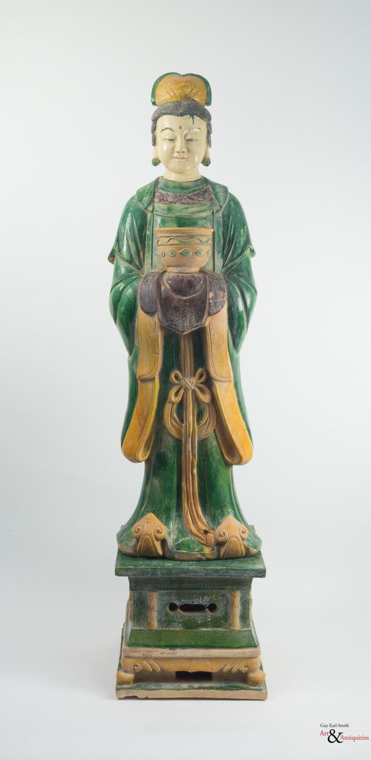 A Sancai-Glazed Ming Dynasty Pottery Sculpture of a Courtier, c. 1368-1644