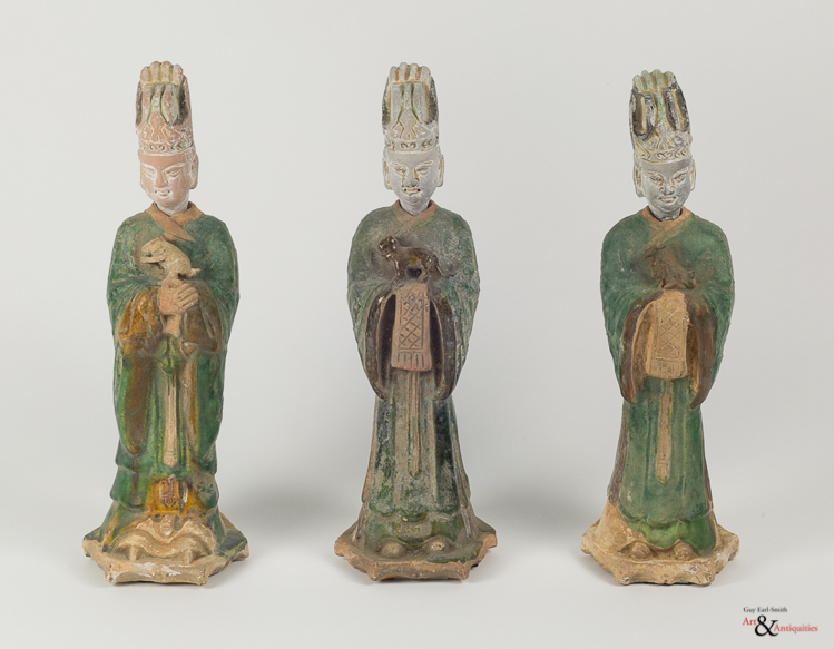 Three Glazed Ming Dynasty Horoscopic Pottery Sculptures,  c. 1368-1644