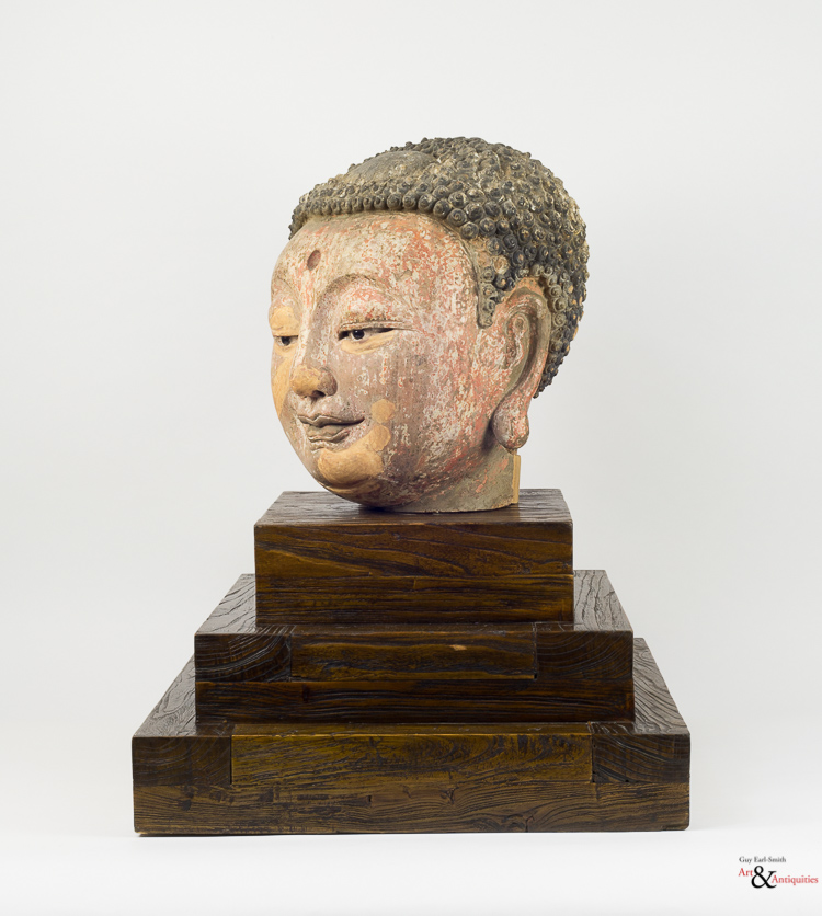 A Painted Clay Ming Dynasty Head of Buddha,c. 1368-1644
