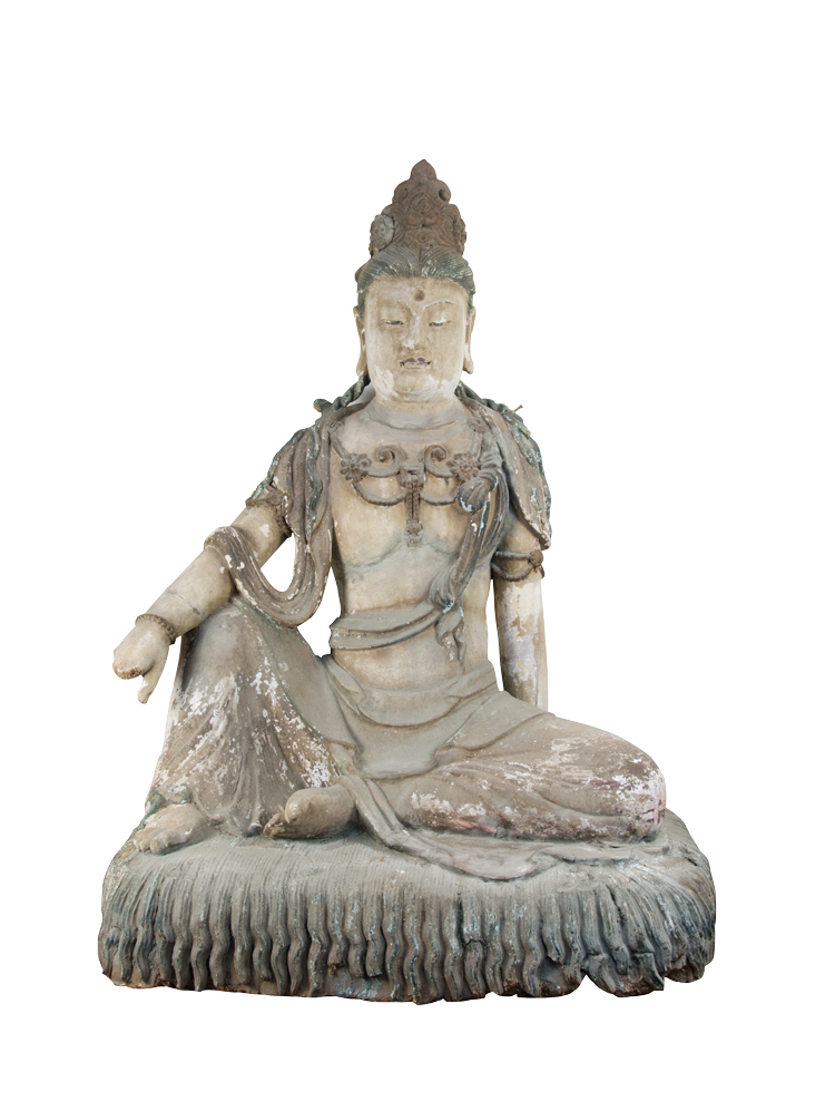 A Painted Clay Ming Dynasty Sculpture of Guanyin,c. 1368-1644