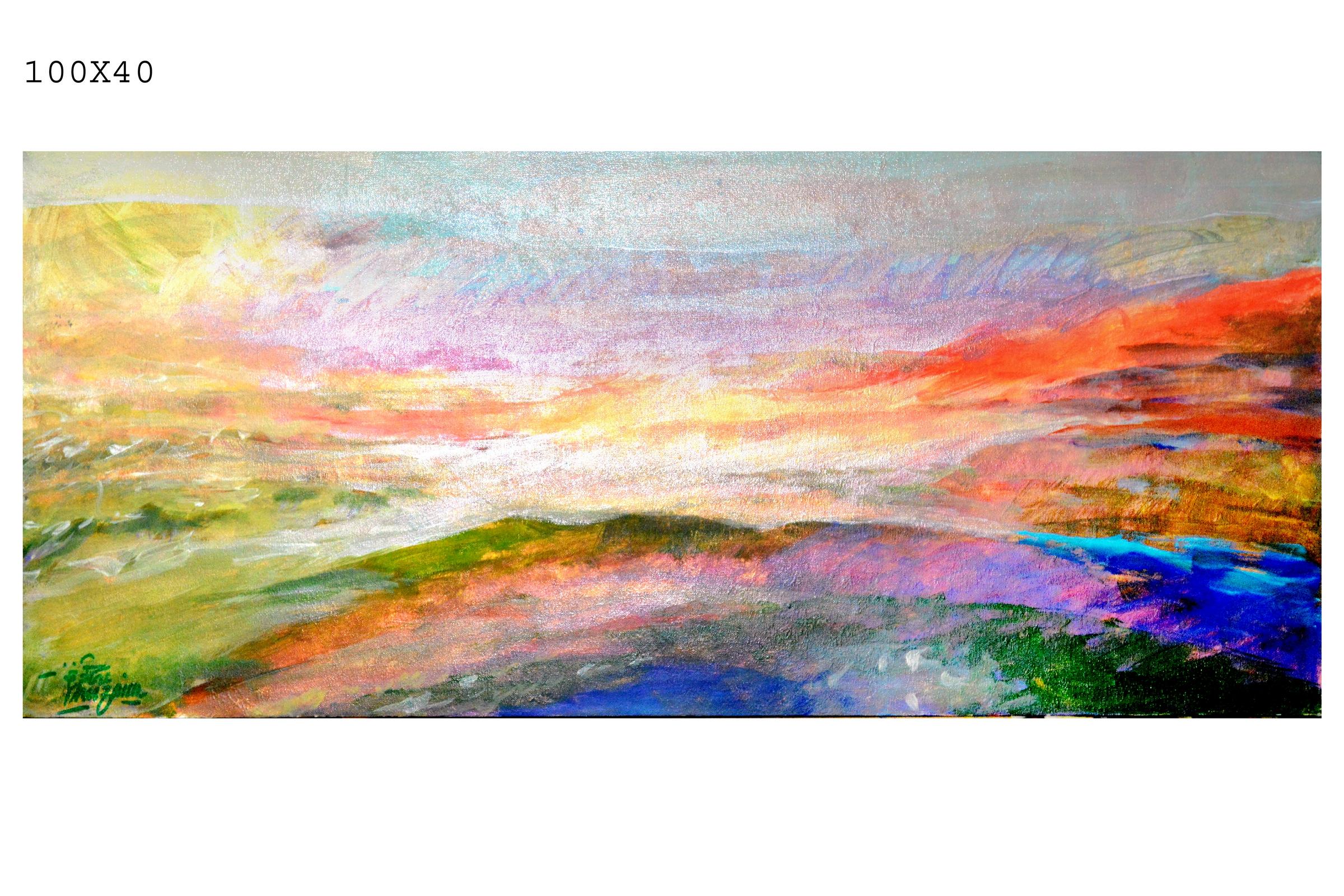 080_146 - artist Othman Khuzaim - 100 in 40 mixed media on canvas - الفنان عثمان الخزيم.JPG