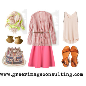 Raquel Greer Gordian discusses how mixing a winter midi skirt and scarf with a spring cardigan and sandal will ensure that you are prepared for any kind of Austin weather.